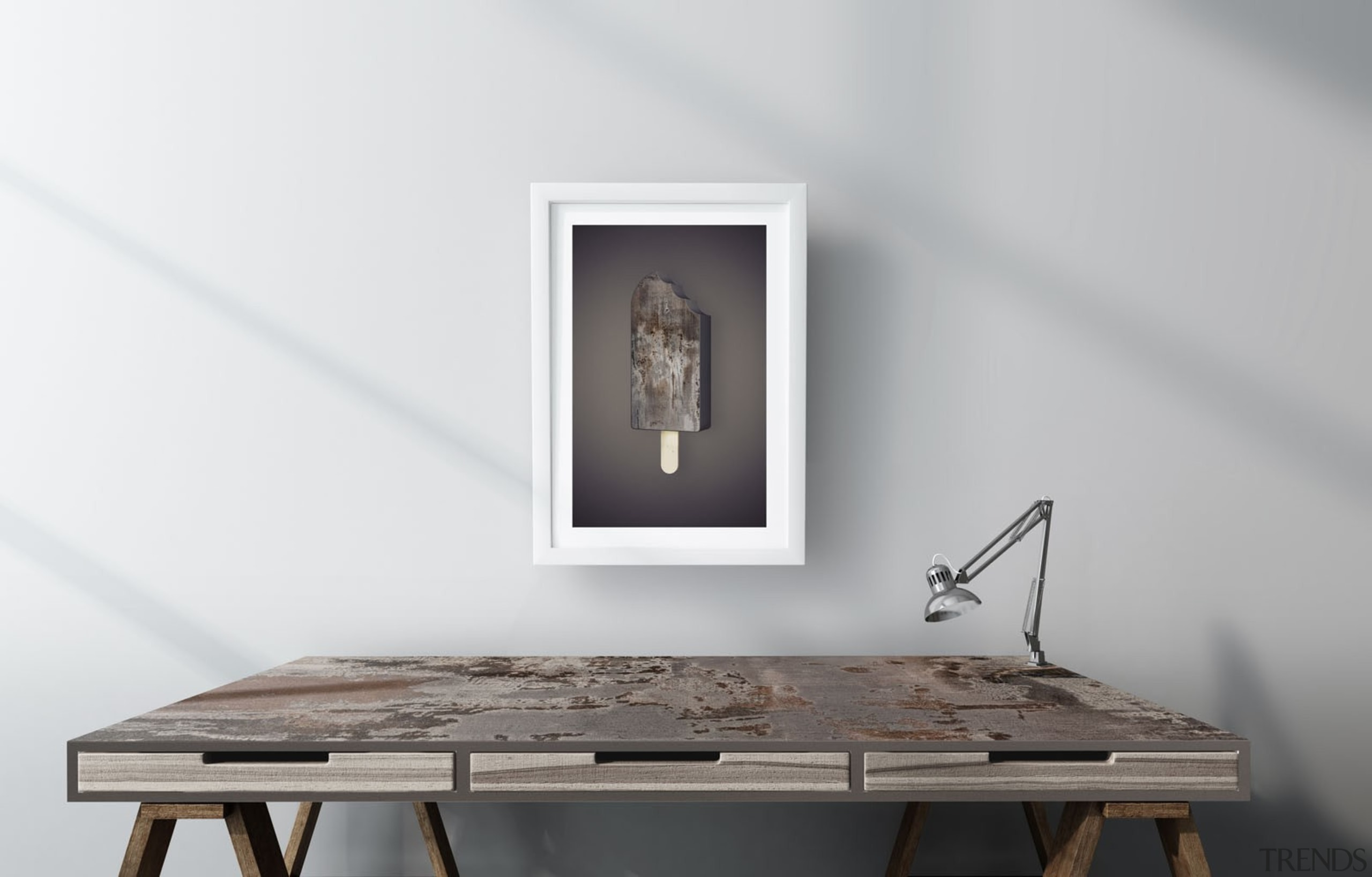 RS11185 Dekton Escritorio Desk - Trilium (1) furniture, product design, table, white, gray
