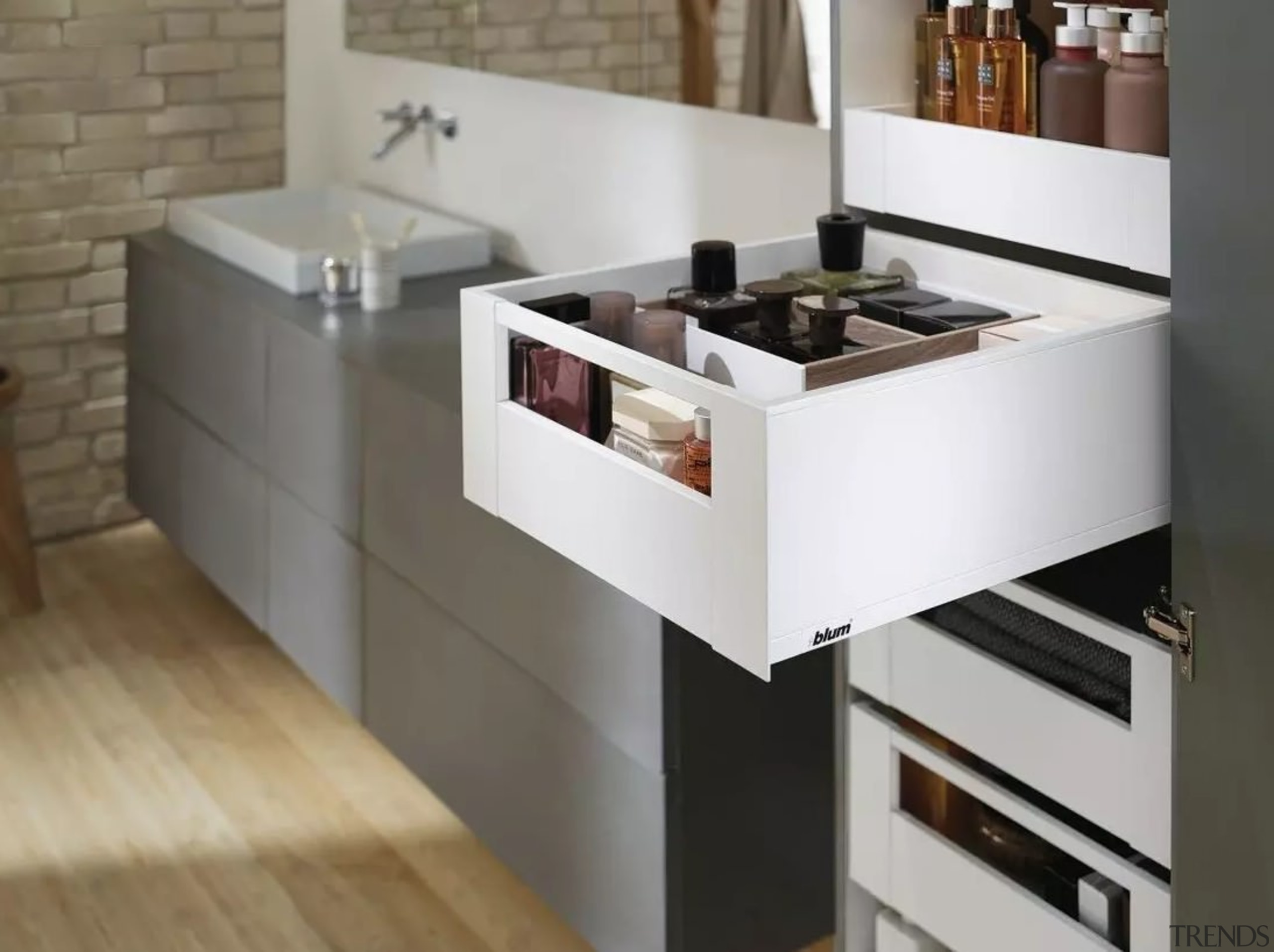 Learn more about Space Tower on the cabinetry, countertop, drawer, floor, furniture, home appliance, interior design, kitchen, kitchen stove, product design, sink, table, gray