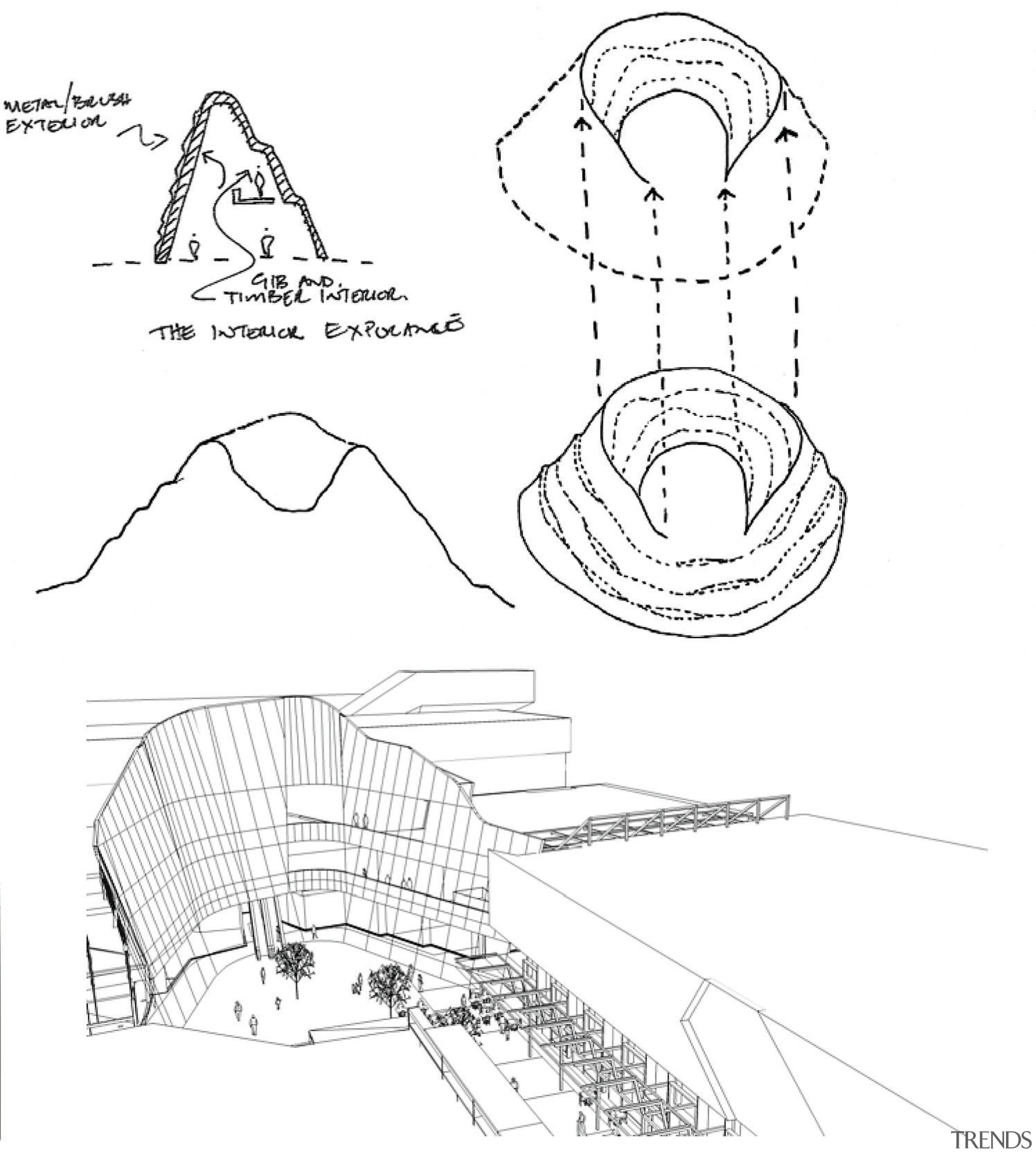 A view of the Sylvia Park shopping complex. angle, area, artwork, black and white, design, diagram, drawing, font, head, line, line art, organism, product, product design, structure, text, white