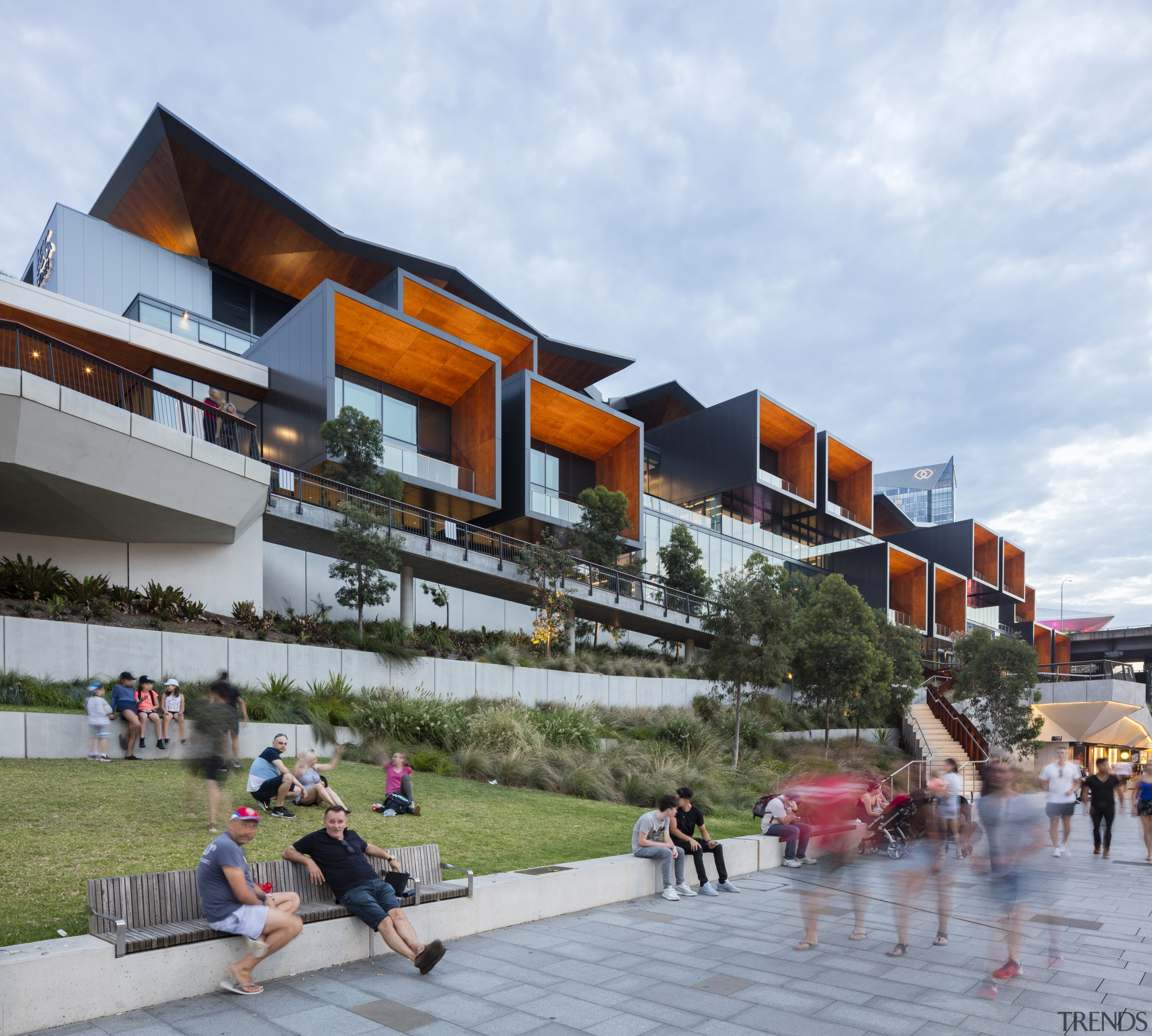 Designed by Populous and Hassell, the ICC Sydney architecture, building, city, facade, home, house, leisure, mixed-use, neighbourhood, public space, real estate, residential area, roof, sky, suburb, tourism, town, urban design, vacation, white