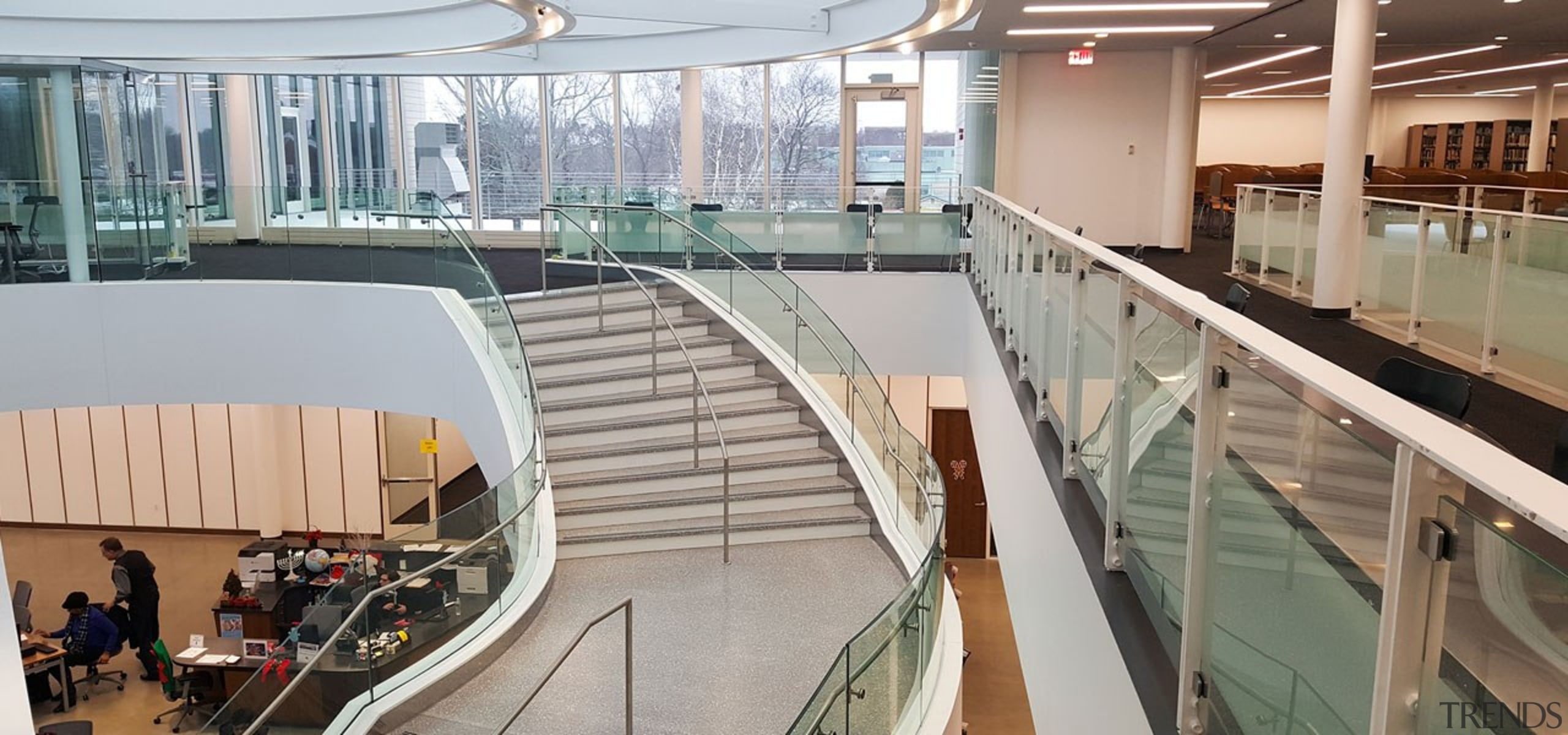 Suffolk County Community College 2 - architecture | architecture, building, daylighting, escalator, floor, flooring, glass, handrail, interior design, metal, property, real estate, room, shopping mall, stairs, gray