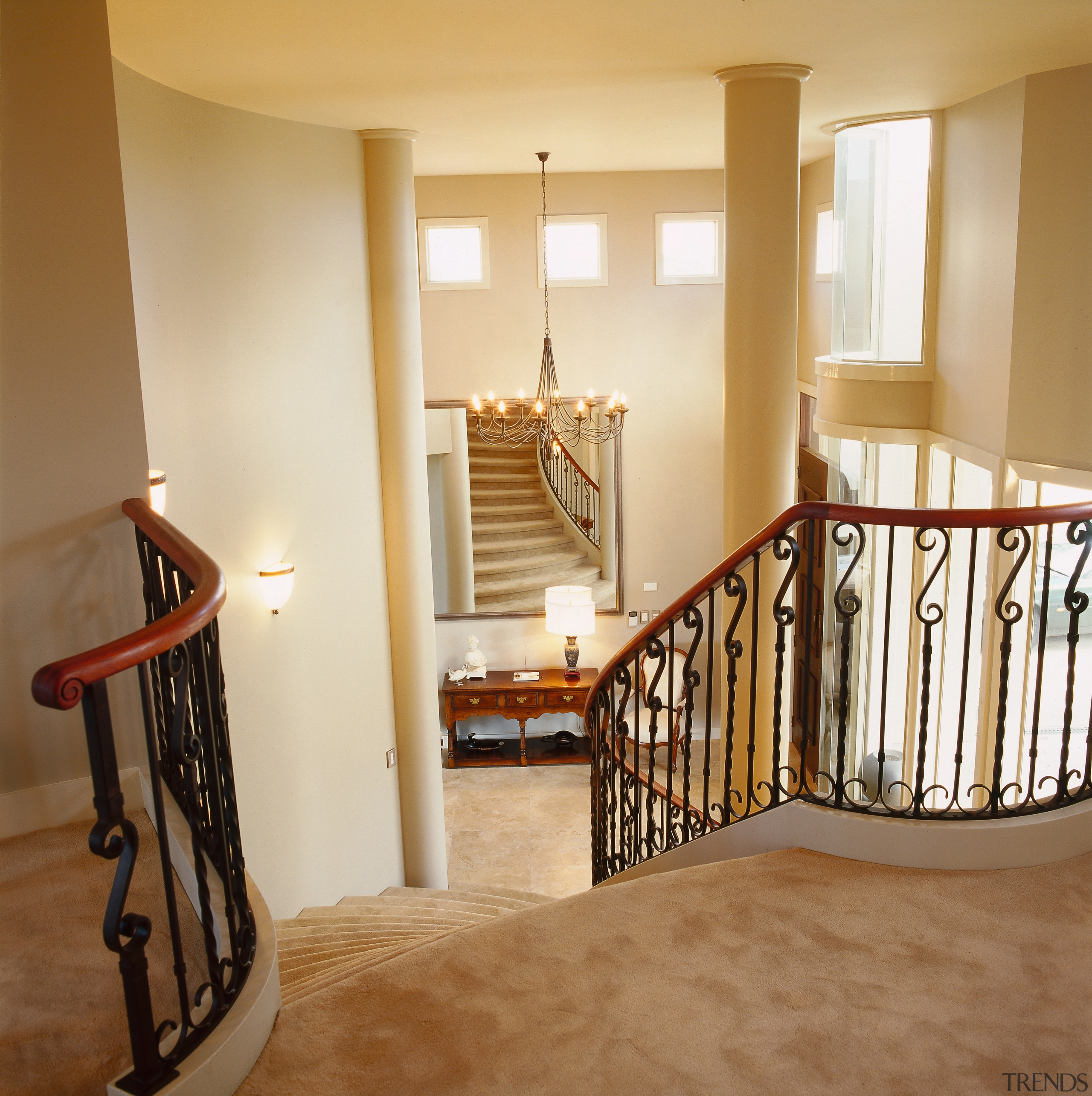 A view of the stair case in the baluster, bed frame, estate, floor, flooring, furniture, handrail, hardwood, home, interior design, laminate flooring, product, real estate, room, stairs, wall, wood, wood flooring, brown, orange
