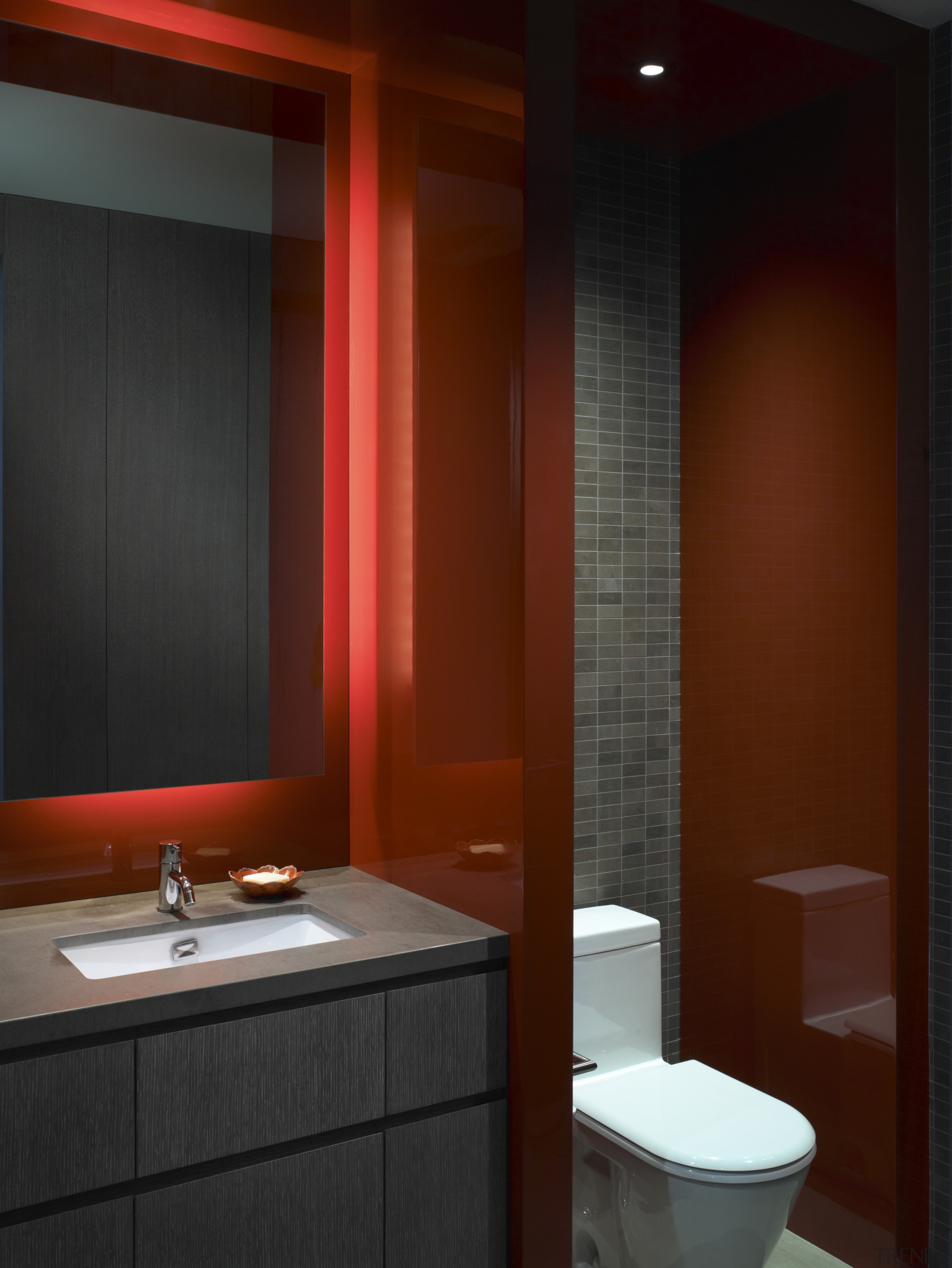 View of this contemporary apartment that has been bathroom, bathroom accessory, ceiling, interior design, lighting, room, red, black