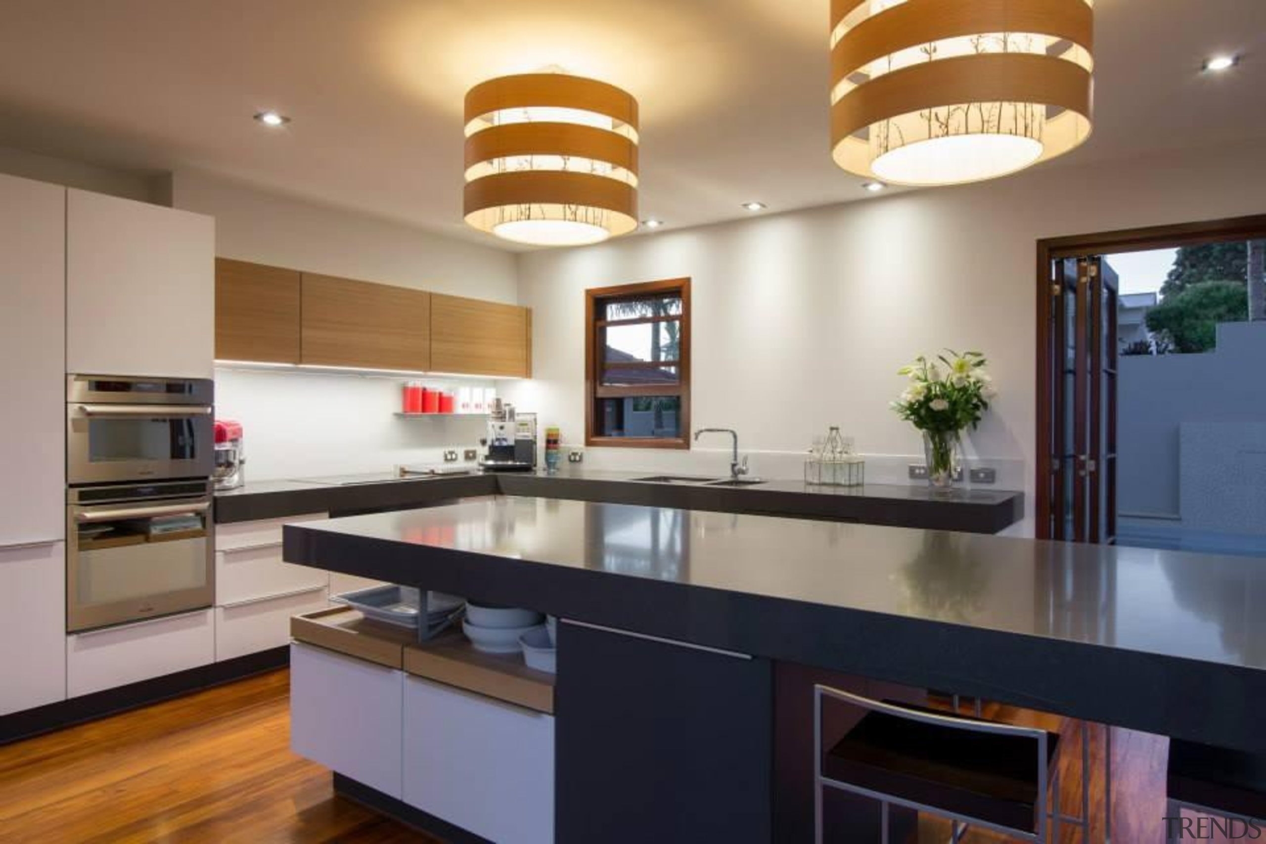 For more information, please visit Poggenpohl New cabinetry, ceiling, countertop, cuisine classique, hardwood, interior design, kitchen, property, real estate, room, gray, brown
