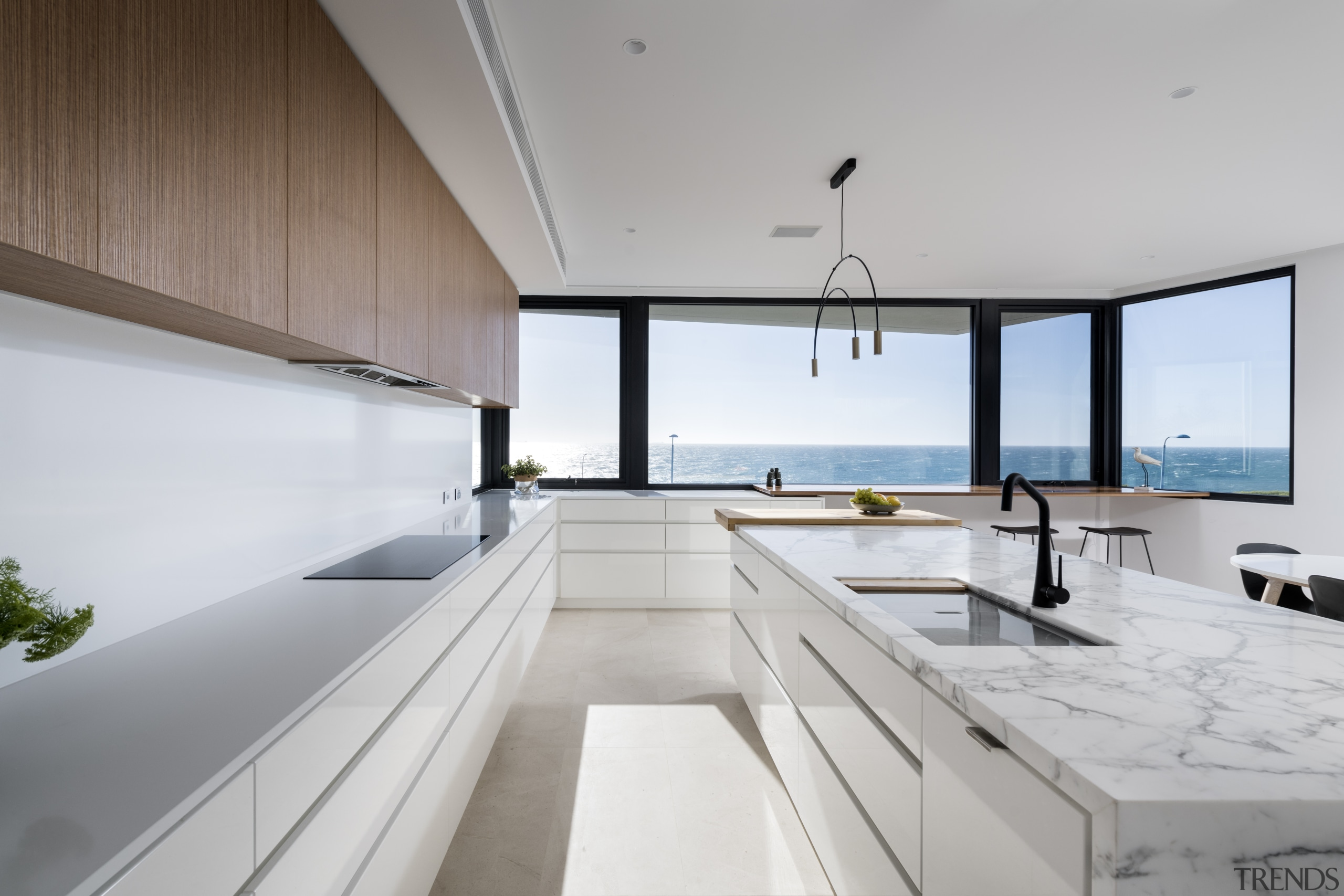 ​​​​​​​The owners wanted this kitchen to accommodate several architecture, countertop, design, furniture, house, interior design, kitchen, penthouse apartment, table, white, Kitchen, tap, sink, countertop