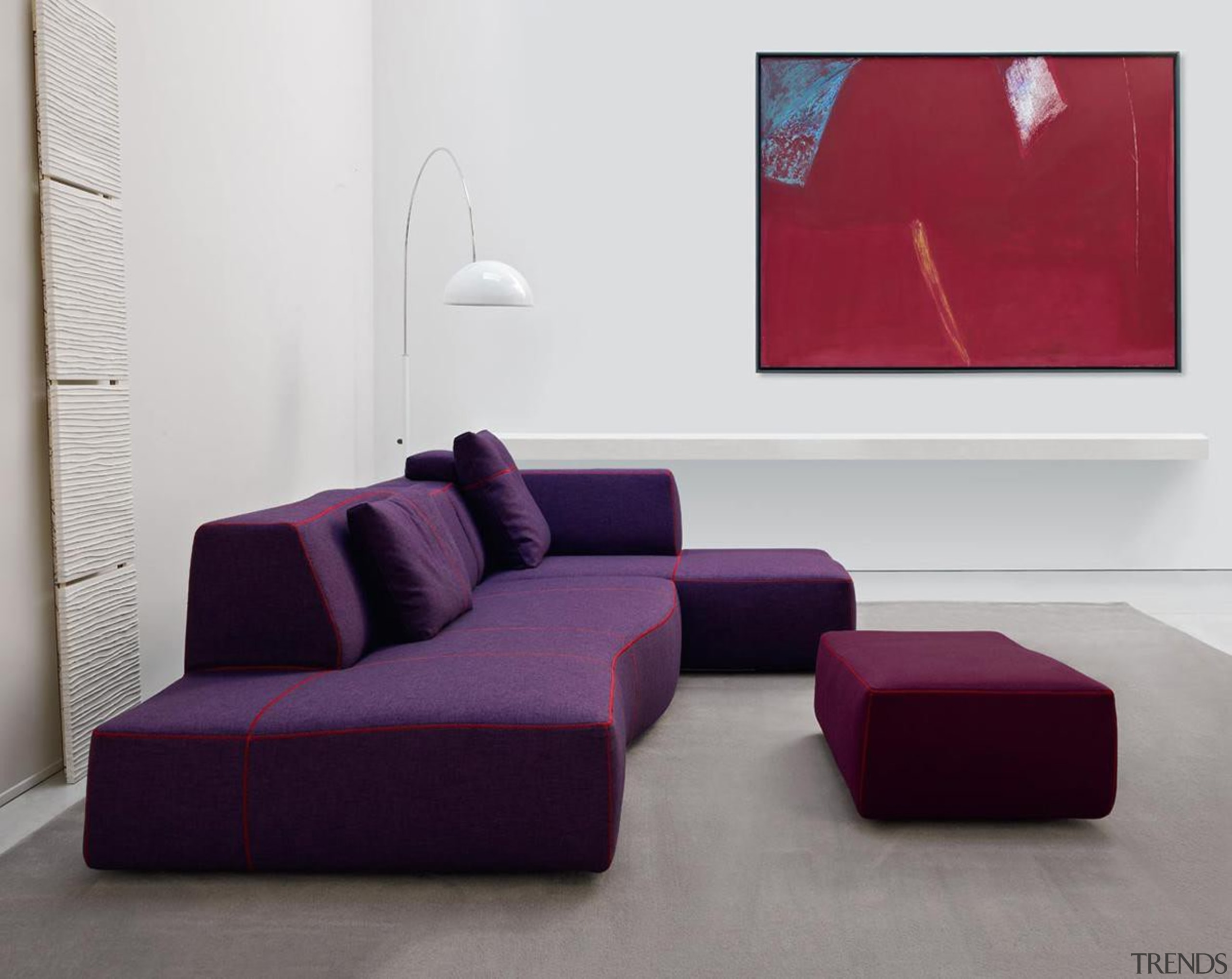Bend sofa by Patricia Urquiola for B&B Italia angle, chaise longue, coffee table, couch, floor, furniture, interior design, living room, product design, purple, sofa bed, table, gray, white
