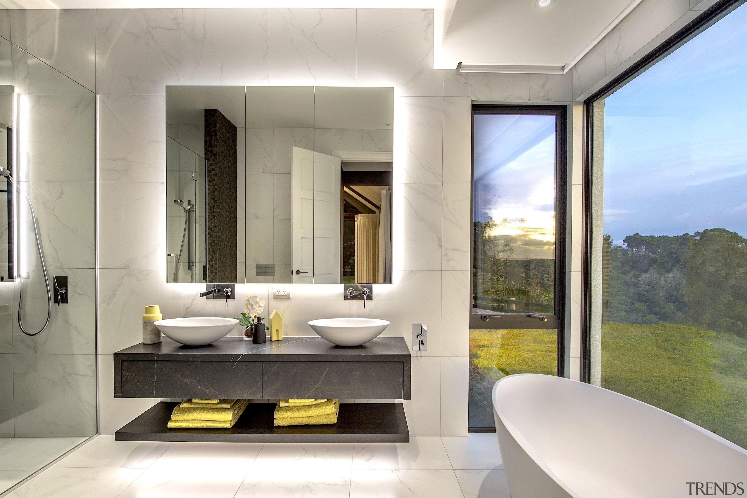 Masonry Design Solutions – Highly Commended – 2019 architecture, bathroom, building, ceiling, door, floor, flooring, furniture, home, house, interior design, living room, plumbing fixture, property, real estate, room, sink, suite, tile, wall, gray