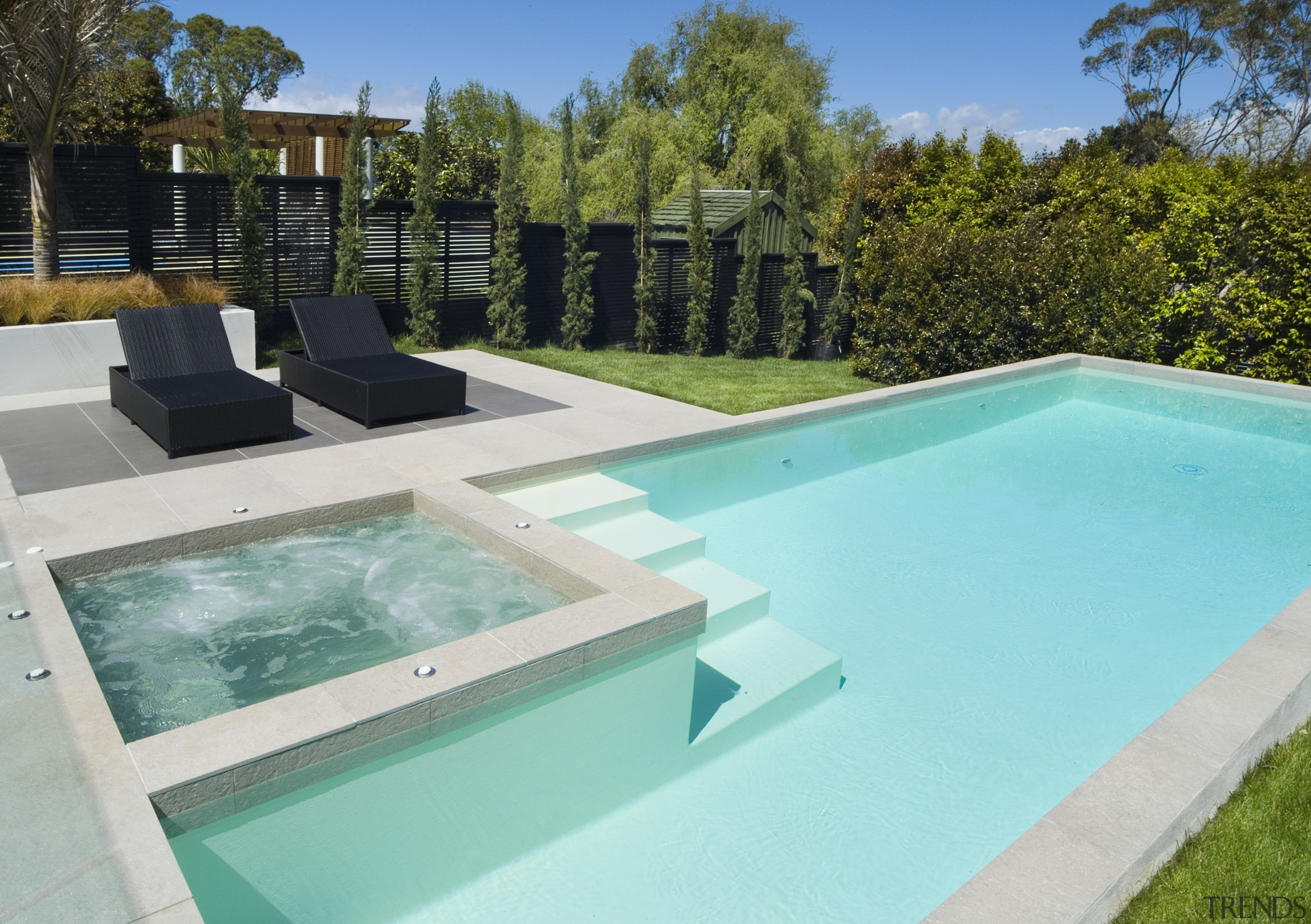 A view of a swimming pool by Mayfair backyard, estate, house, leisure, property, real estate, swimming pool, water, teal