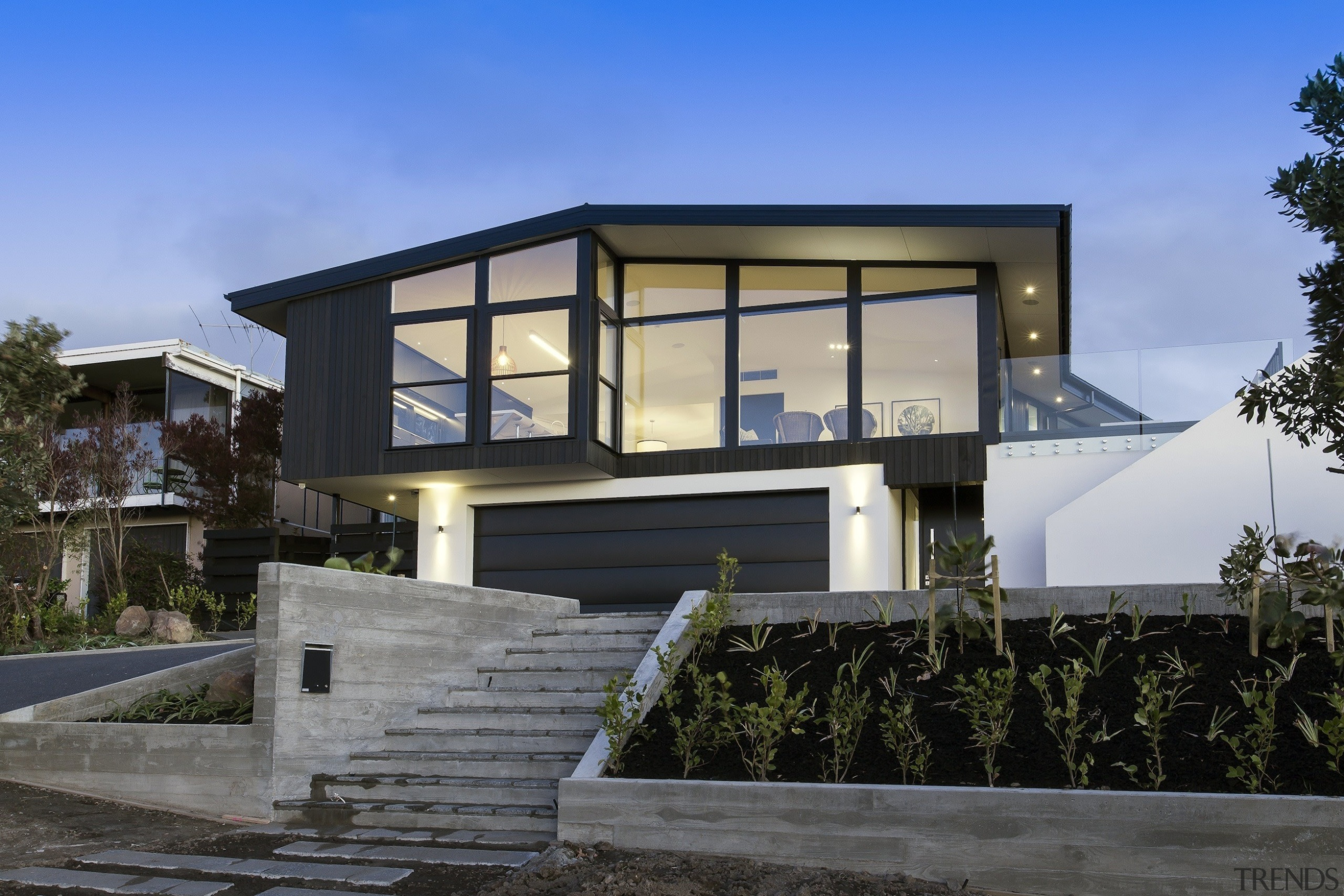 Highly Commended – 2016 Tida New Zealand Designer architecture, building, cottage, elevation, facade, home, house, property, real estate, residential area, villa, window, black, gray, blue