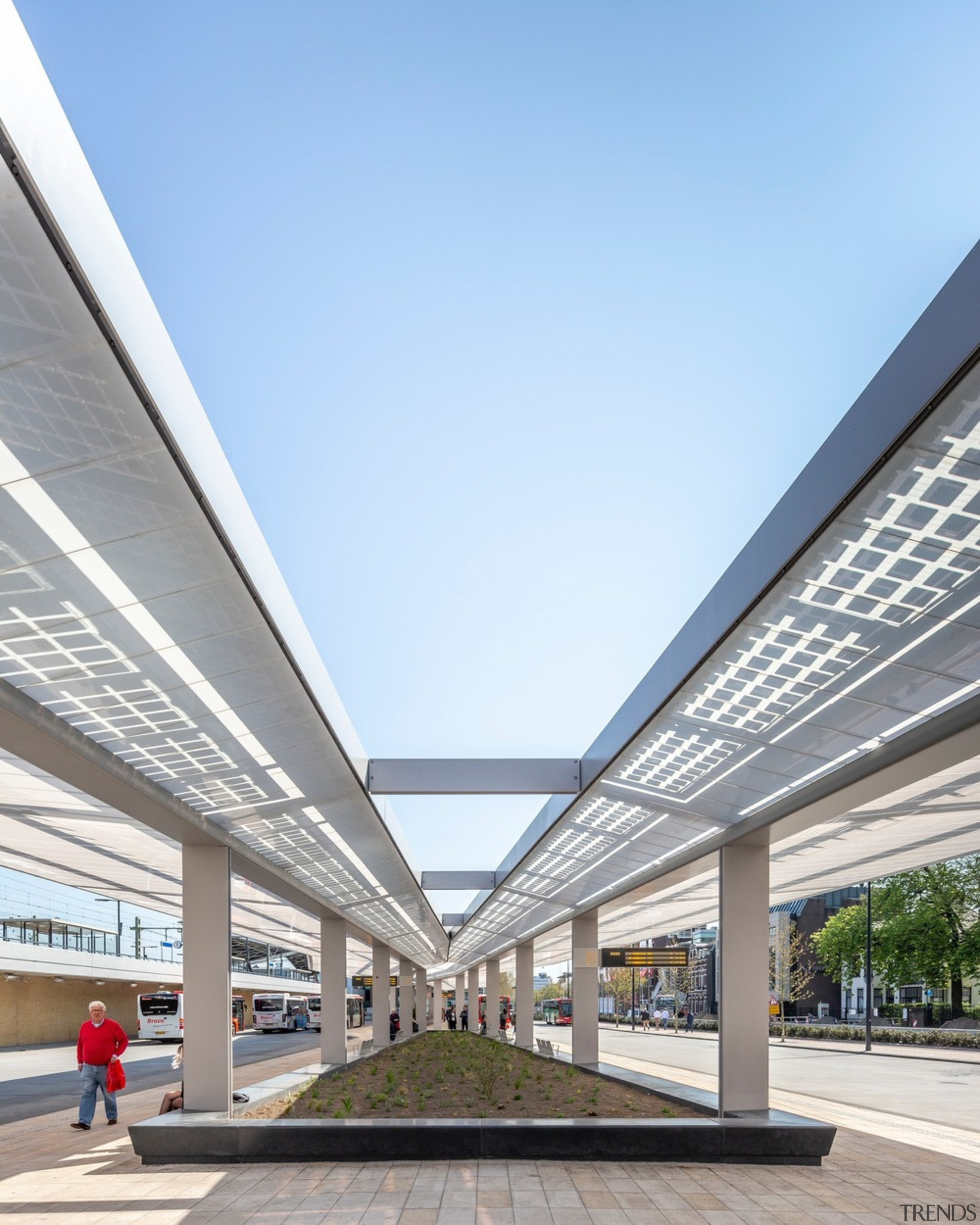The basic setup consists of a series of architecture, building, daylighting, facade, sky, walkway, white, teal