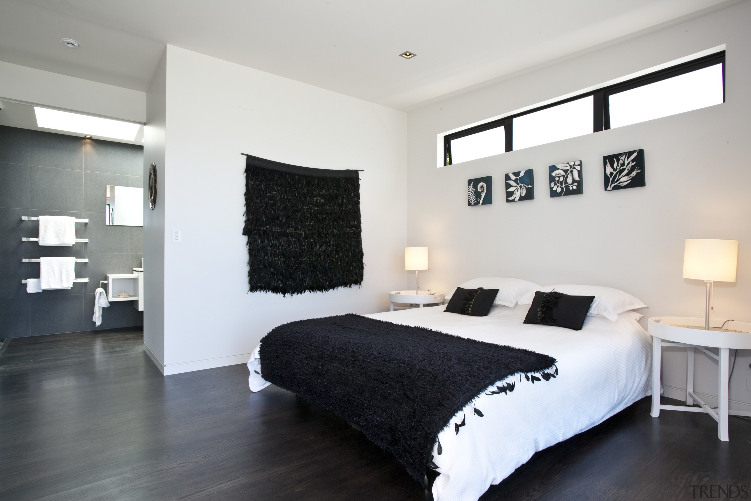 View of the master bedroom featuring stained American bed frame, bedroom, ceiling, floor, home, interior design, property, real estate, room, wall, white