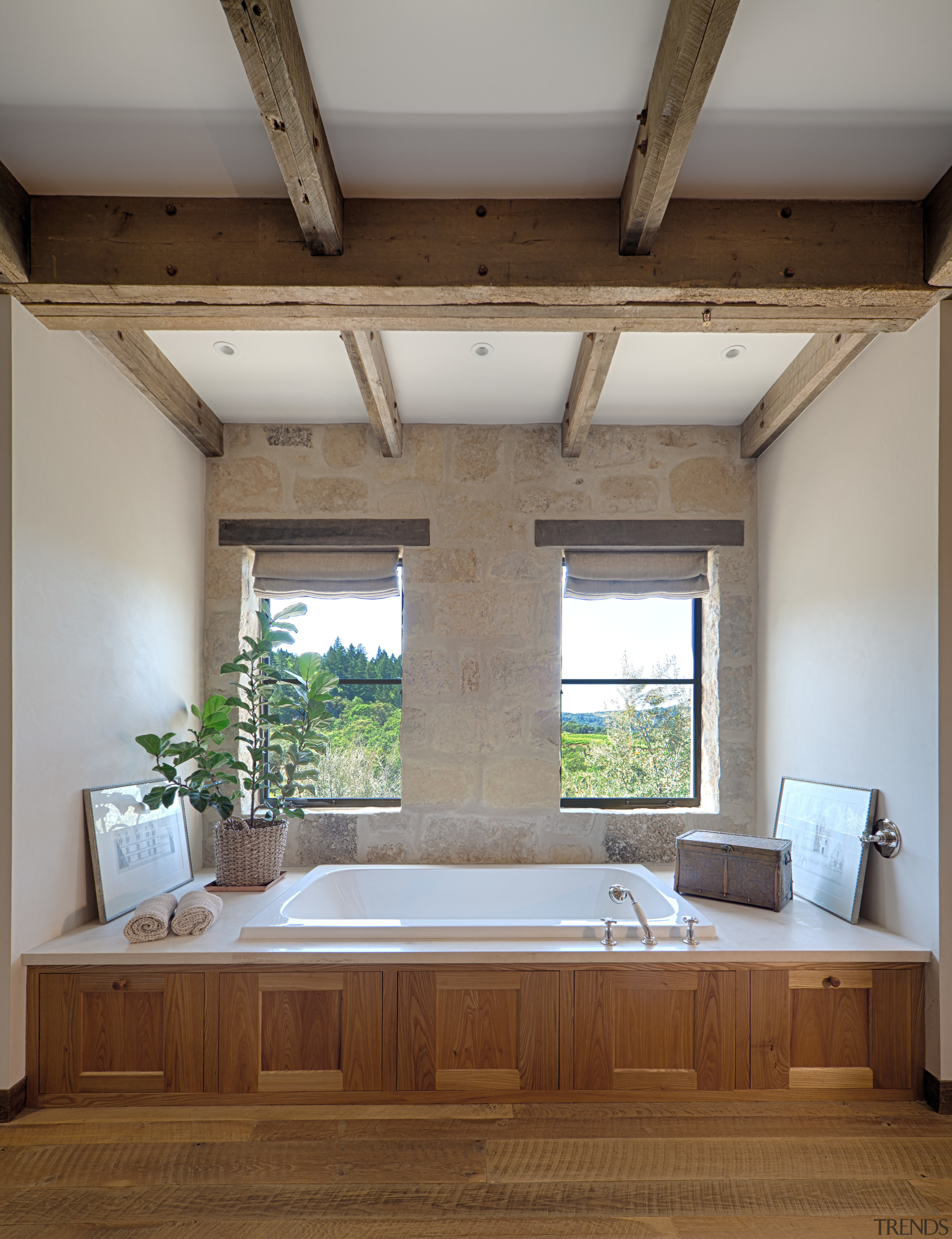 The bathroom on the second floor of the architecture, bathroom, ceiling, daylighting, estate, floor, home, interior design, room, window, wood, gray, brown