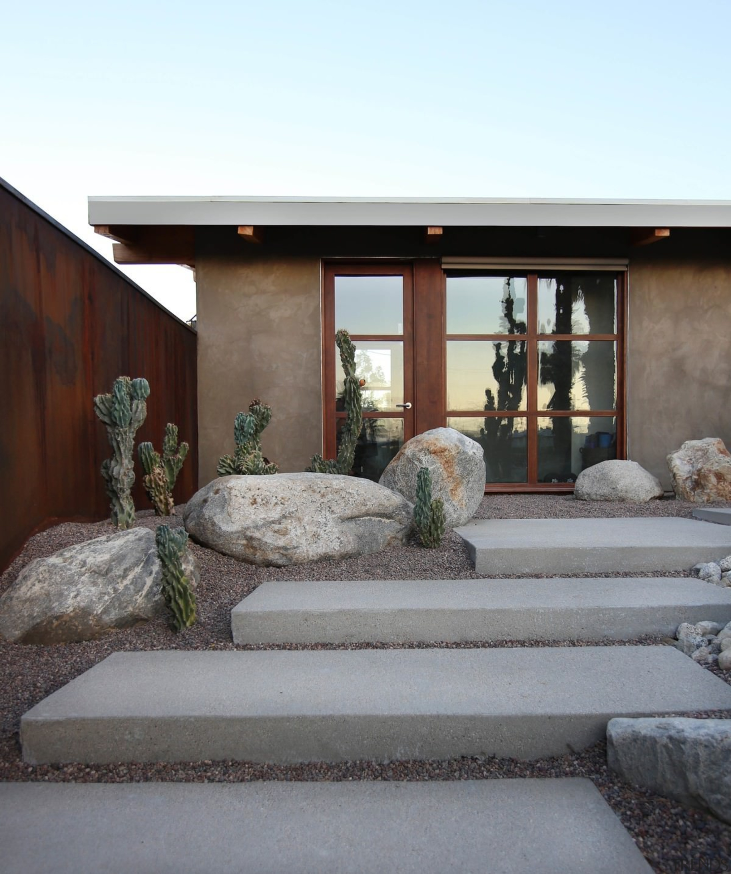 The concrete steps leading up to the home architecture, home, house, window, gray