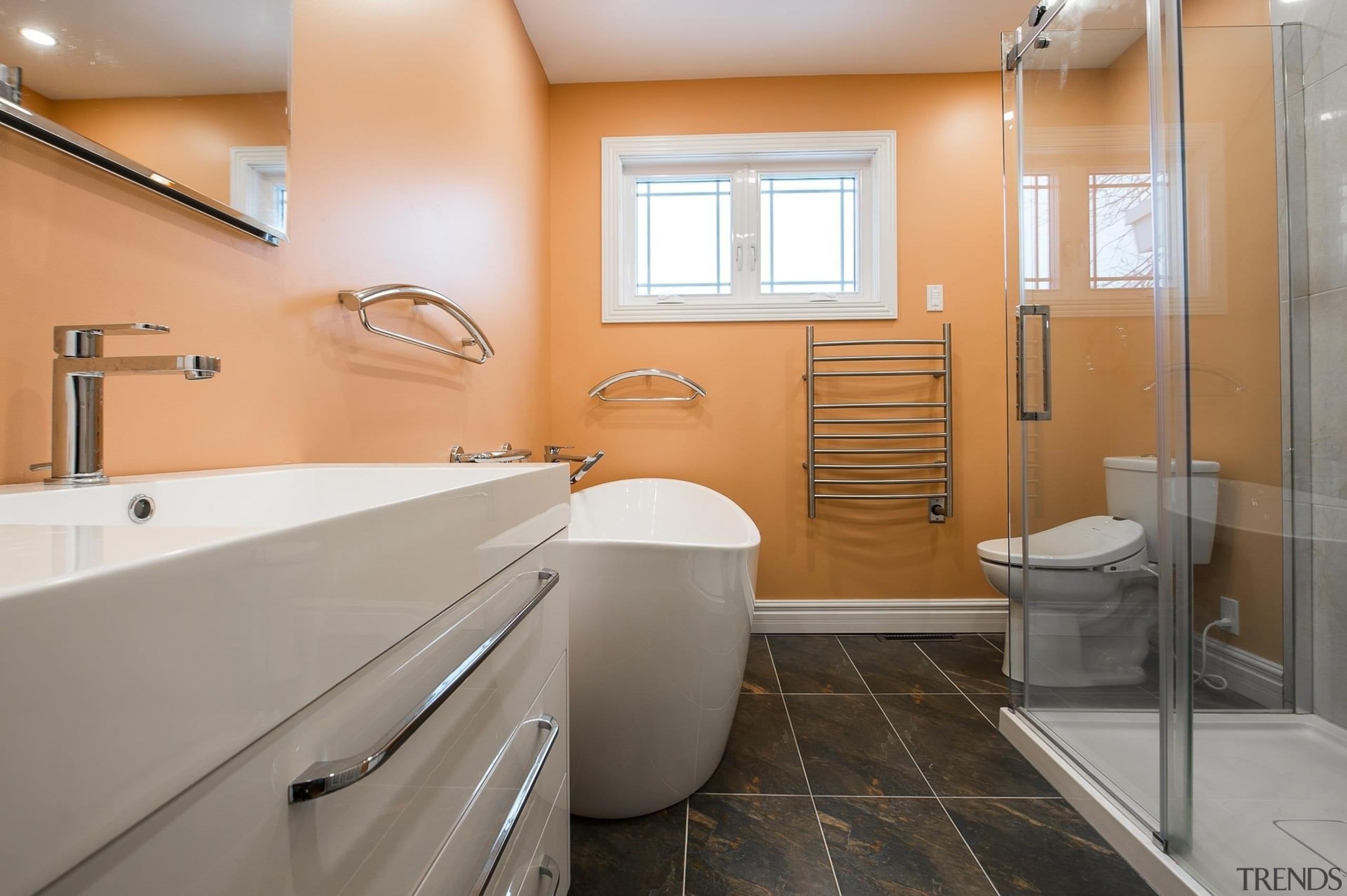 Increasing natural light is an effective way of bathroom, floor, home, interior design, real estate, room, gray, orange