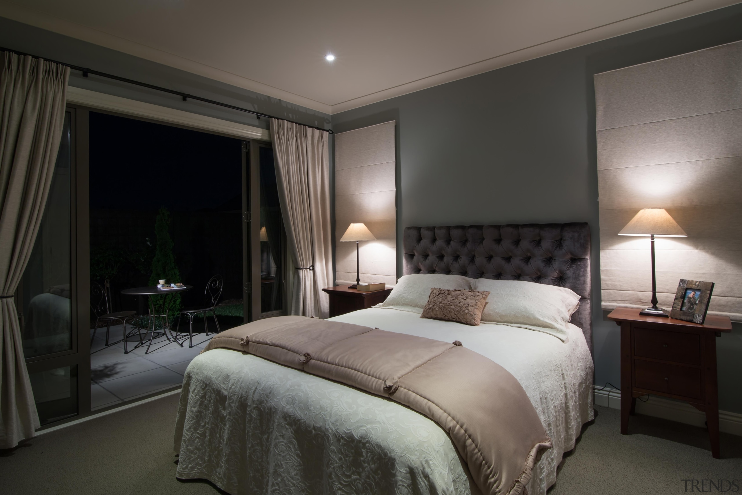 Img3540 - bed frame   bedroom   ceiling bed frame, bedroom, ceiling, home, hotel, interior design, lighting, property, real estate, room, suite, wall, window, window treatment, black, gray