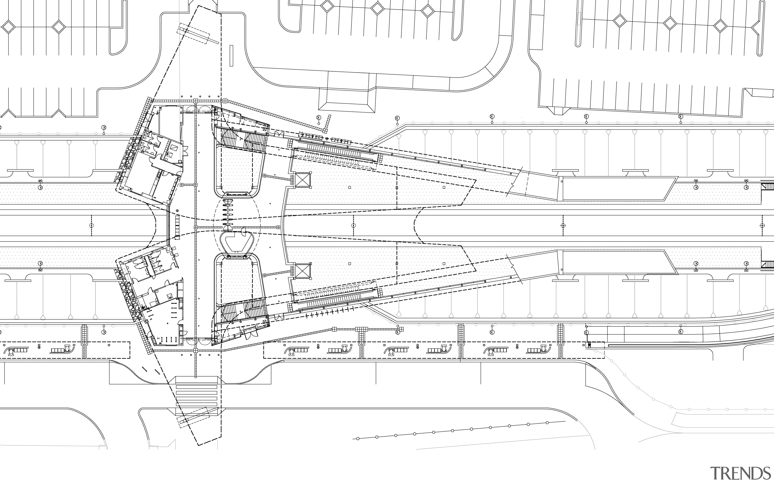 This plan shows the butterfly-shaped roof form of angle, architecture, area, artwork, black and white, design, diagram, drawing, engineering, line, line art, plan, product design, structure, technical drawing, white