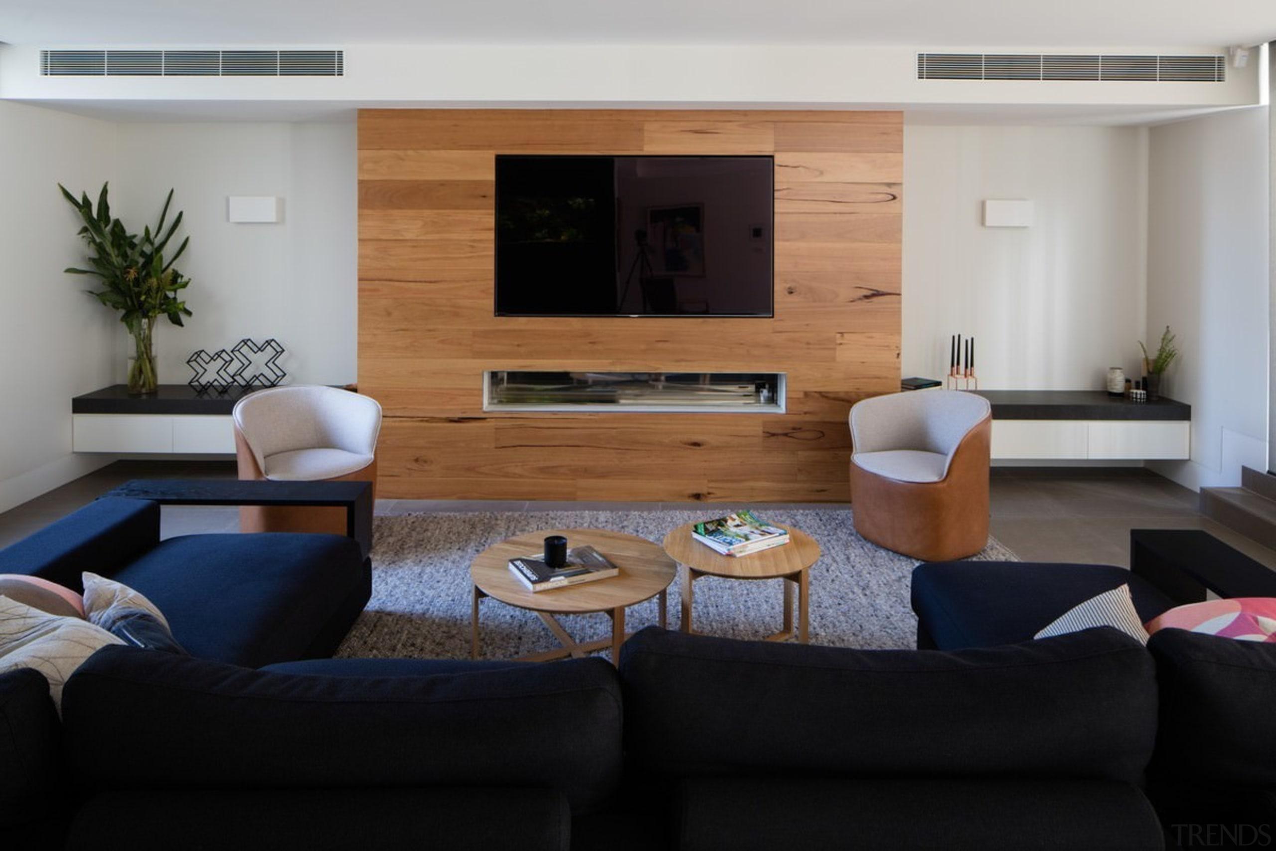 Architect: Damon HillsPhotography by Nic Granleese floor, furniture, house, interior design, living room, room, table, gray, black