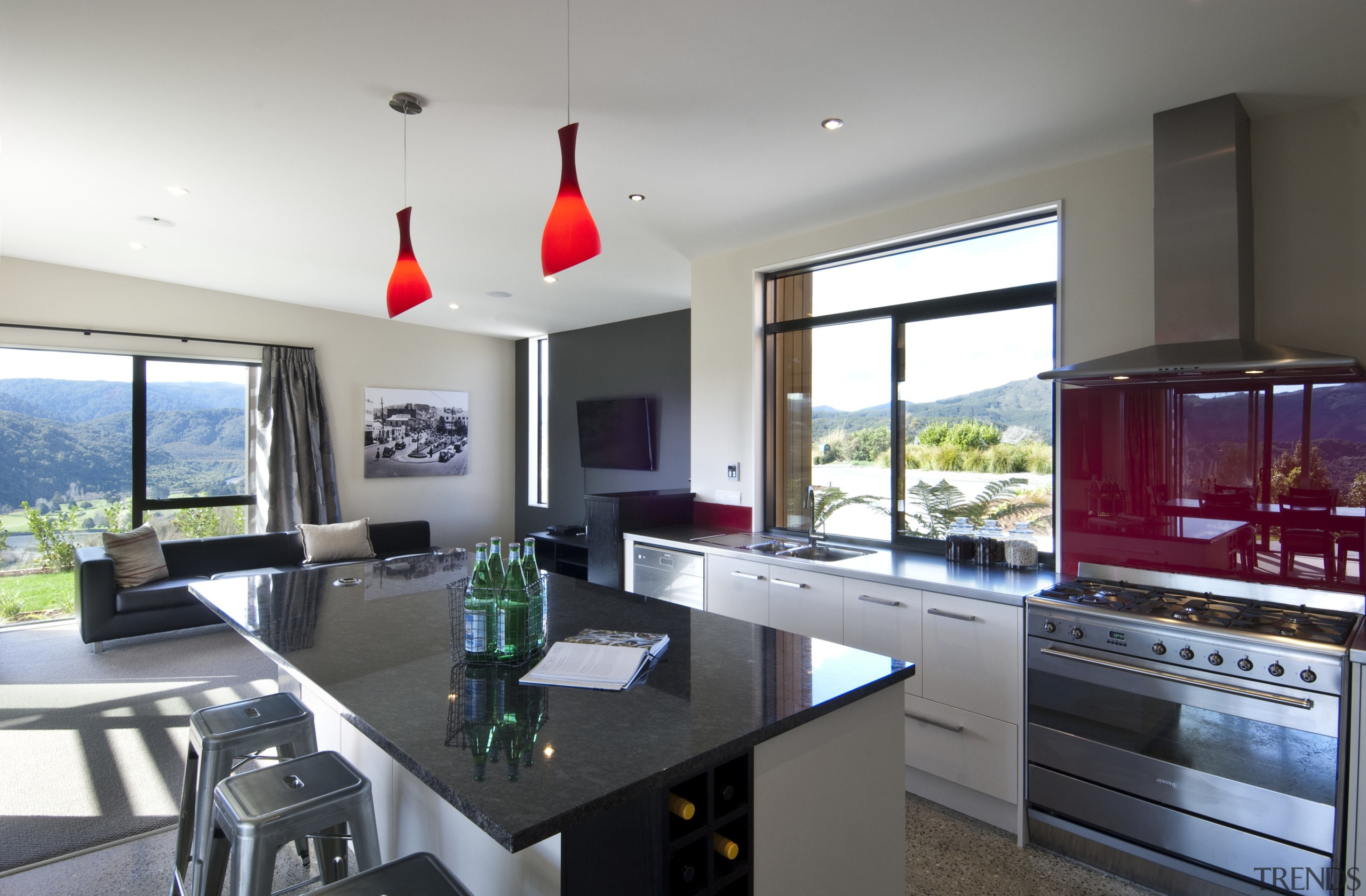 In this house, designed by David Reid Homes, countertop, interior design, kitchen, property, real estate, gray, white