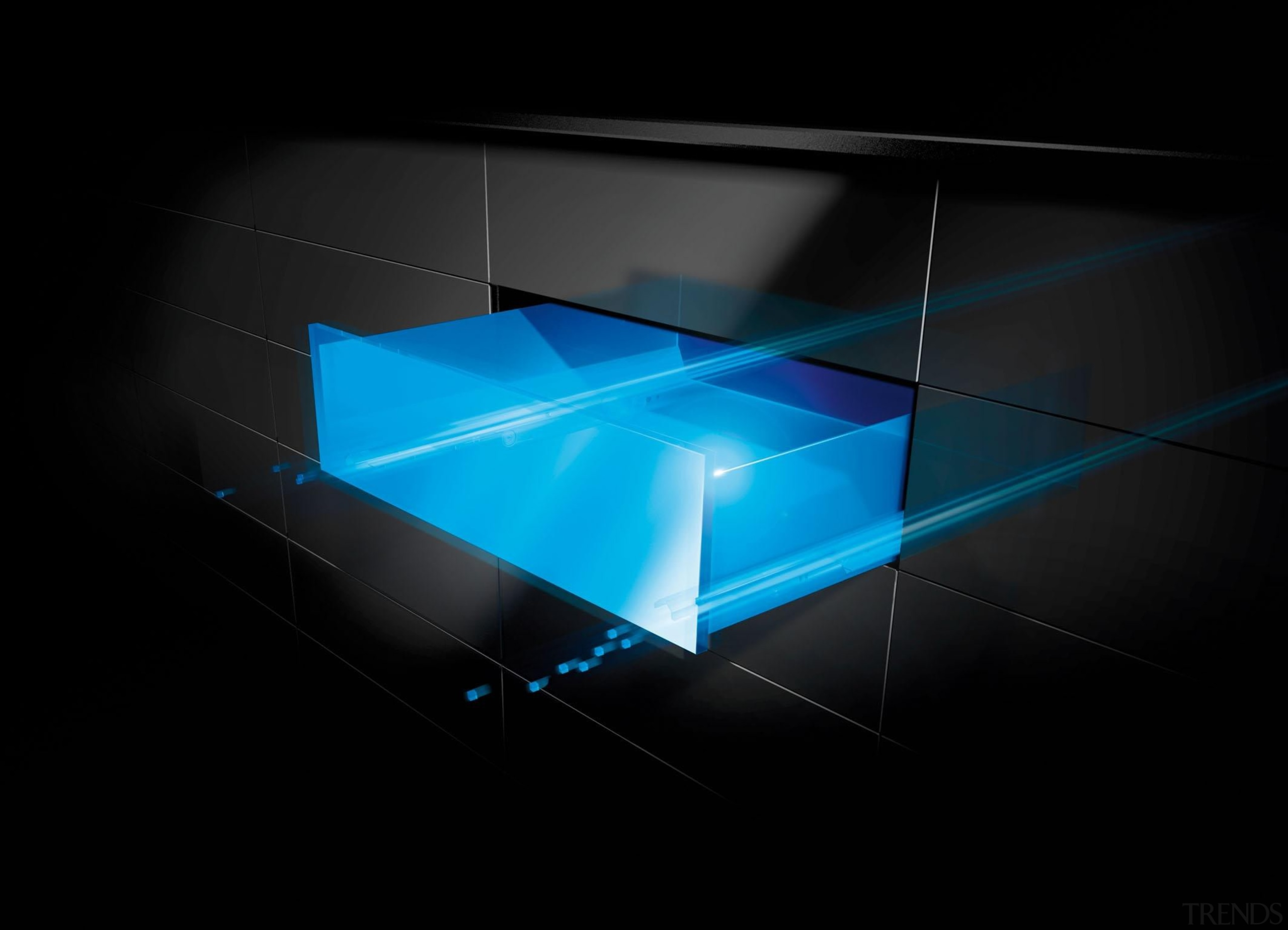 The luxurious action of the Actro runner is angle, blue, computer wallpaper, light, lighting, line, product design, technology, black