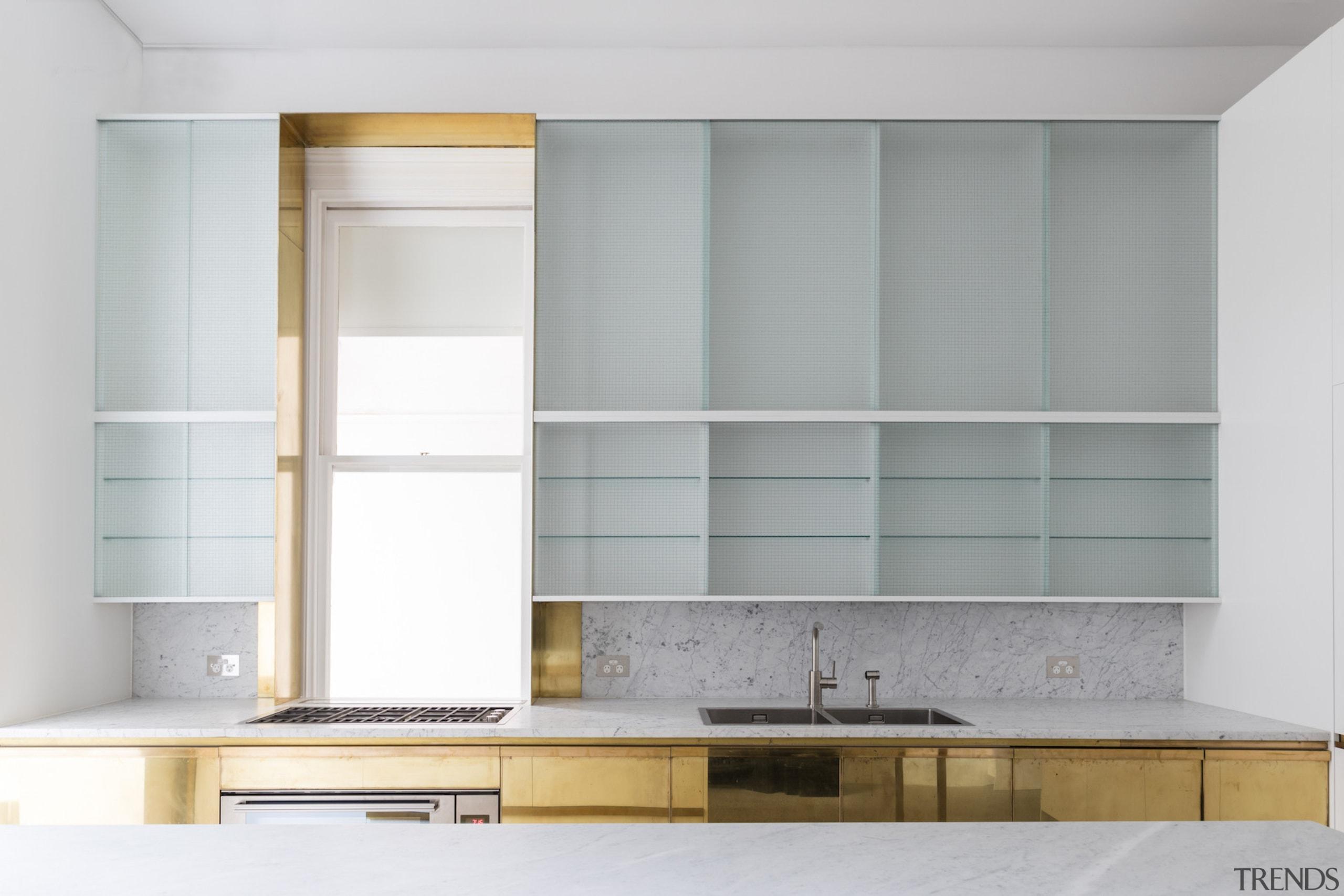 Renato D'Ettorre Architects cabinetry, furniture, interior design, shelf, shelving, wall, gray, white