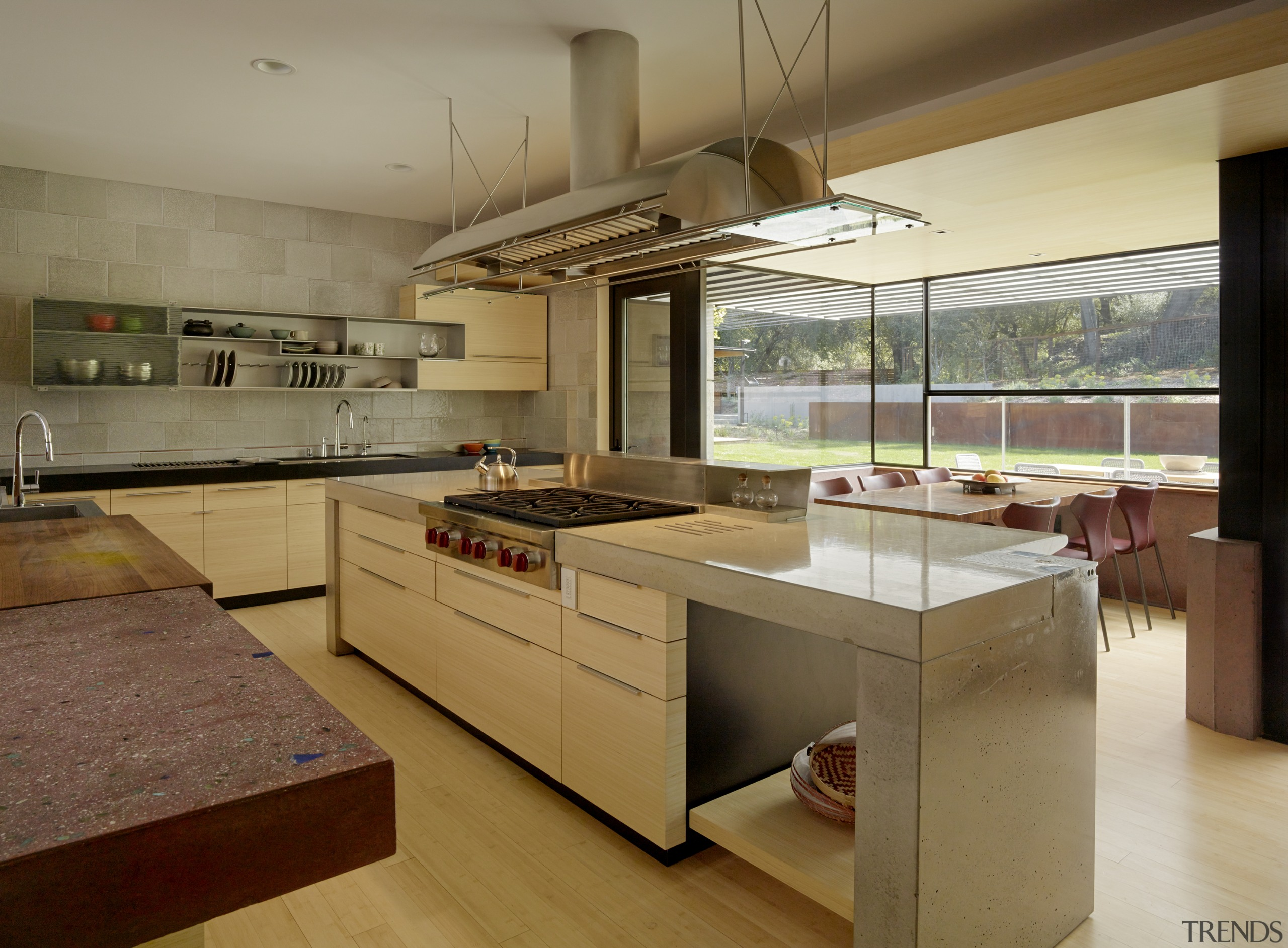 Designed by FuTung Cheng, the hood in this cabinetry, countertop, benchtop, interior design, kitchen, FuTung Cheng, Cheng Design, custom hood
