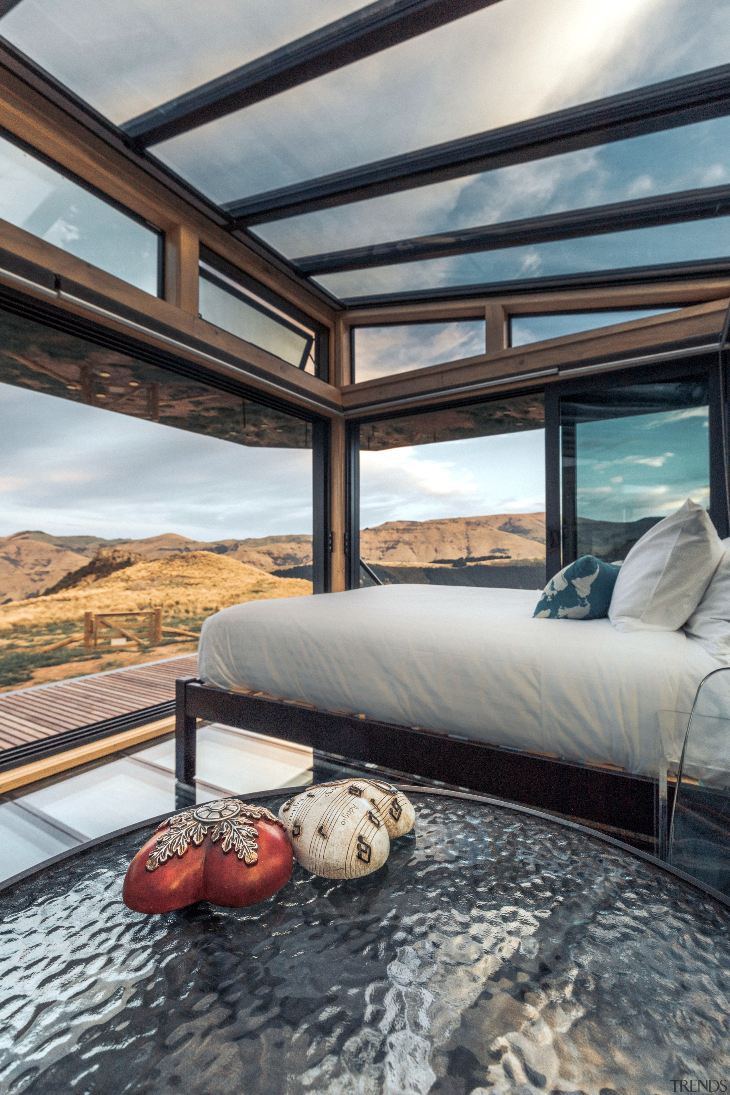 PurePod, New Zealand South Island, New Zealand - architecture, bed, bed frame, bedding, bedroom, building, ceiling, daylighting, floor, furniture, home, house, interior design, leisure, property, room, suite, gray, black