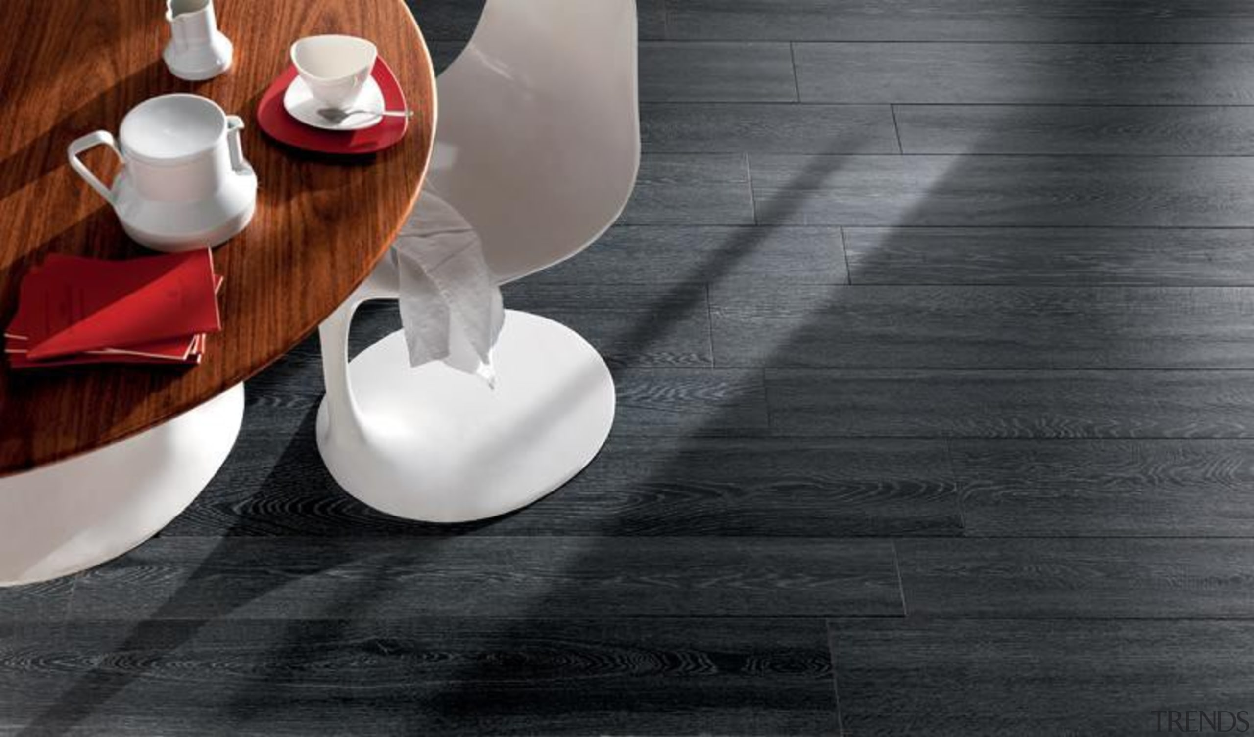 Bioplank oak lava interior anti-bacterial floor tiles. ceramic, floor, flooring, furniture, product design, still life photography, table, tableware, black, gray