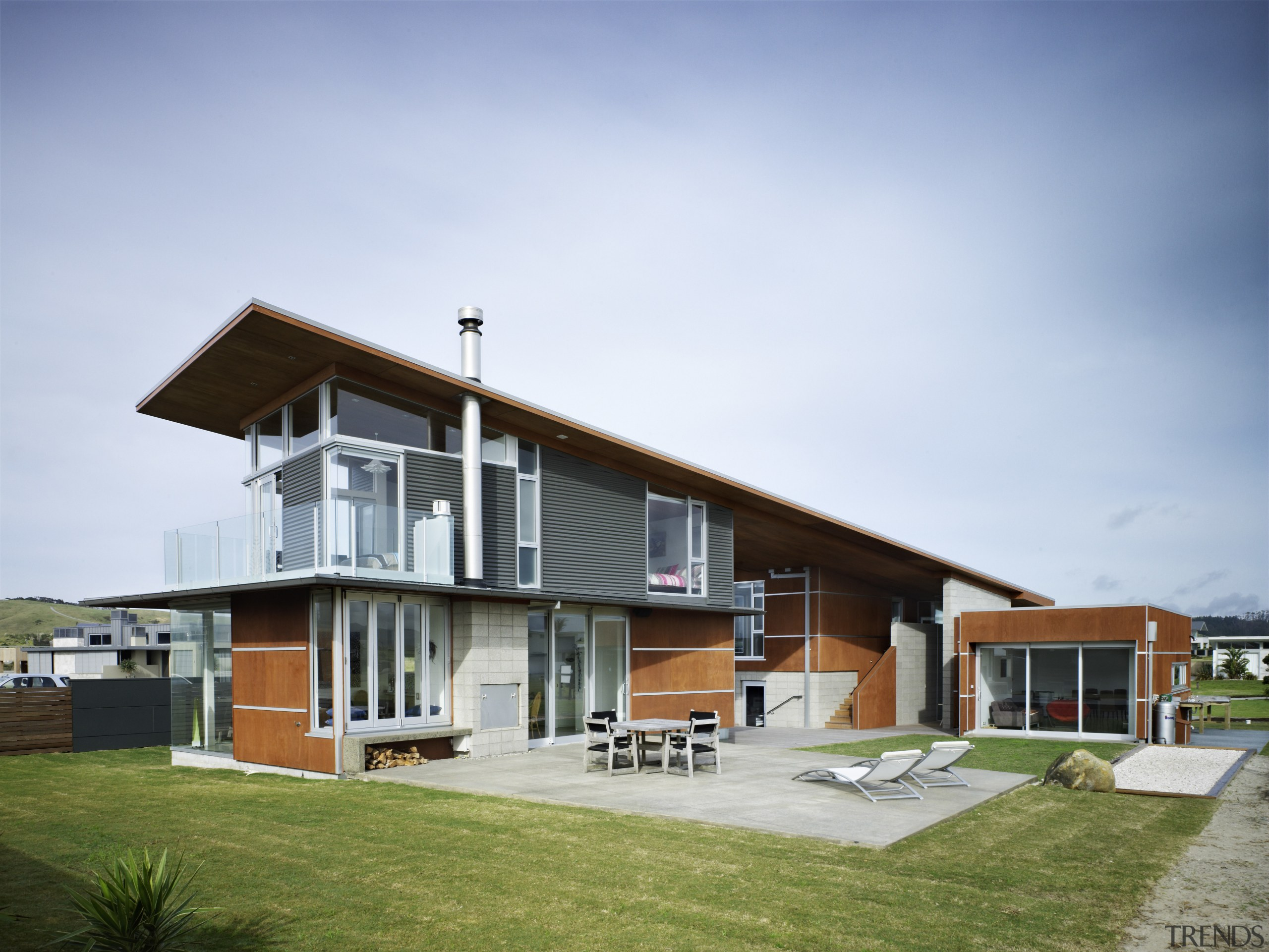 The Shadowclad cladding and bracing system sets off architecture, building, cottage, elevation, estate, facade, farmhouse, home, house, property, real estate, residential area, sky, white