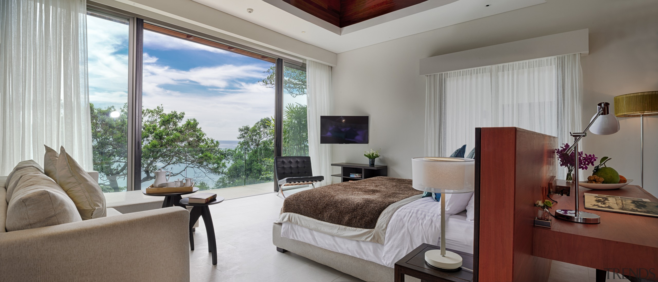 This bedroom design follows a hotel plan, with bedroom, ceiling, estate, interior design, living room, property, real estate, room, suite, window, gray