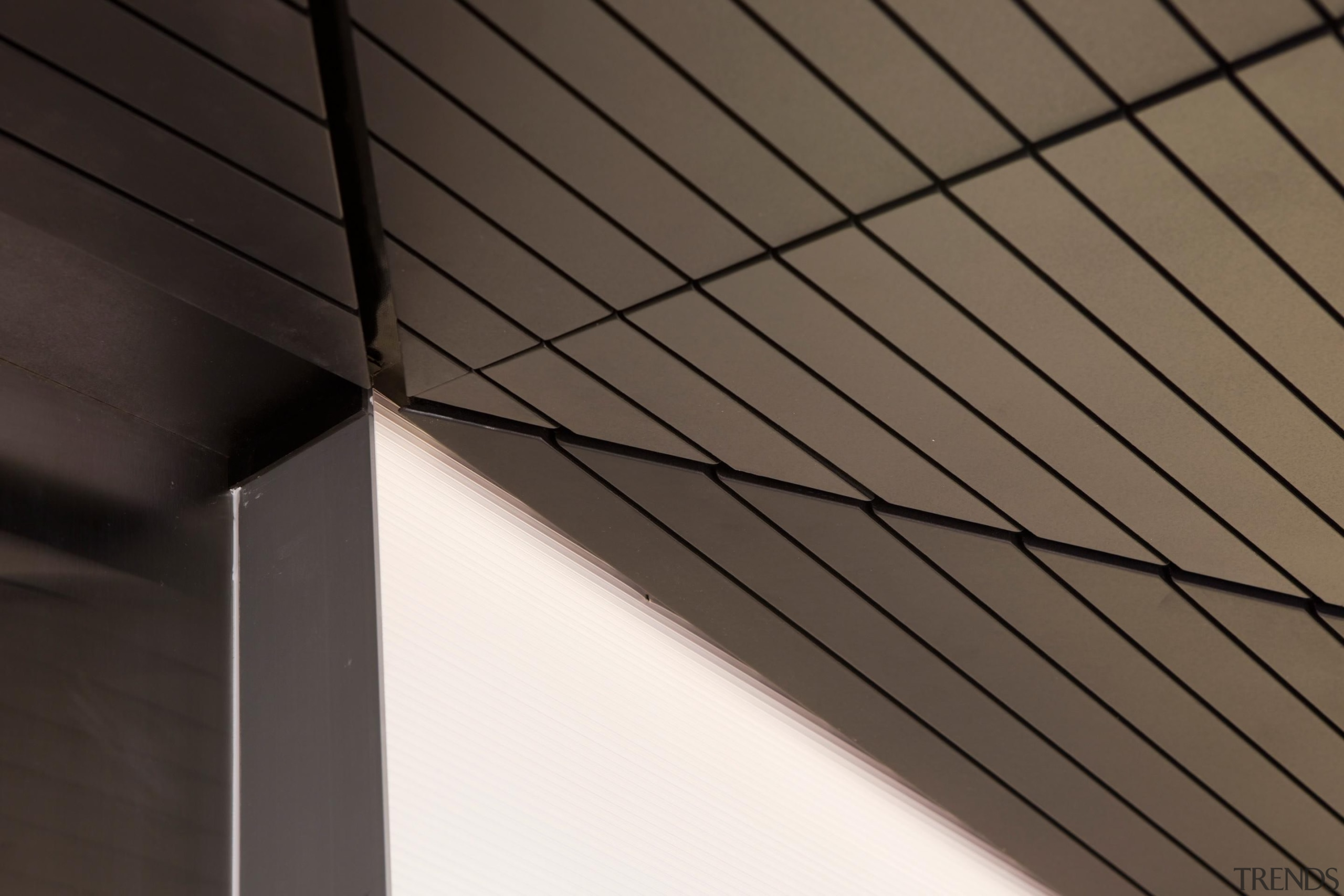 Decortech groved panels form a triangulated ceiling form angle, architecture, ceiling, daylighting, facade, light, line, roof, structure, wall, wood, black, gray