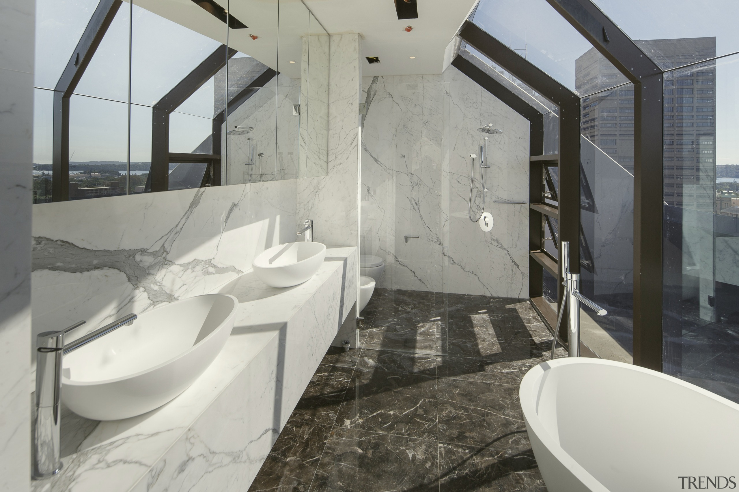 This marble bathroom with twin vanities, freestanding bathtub architecture, bathroom, interior design, property, real estate, gray