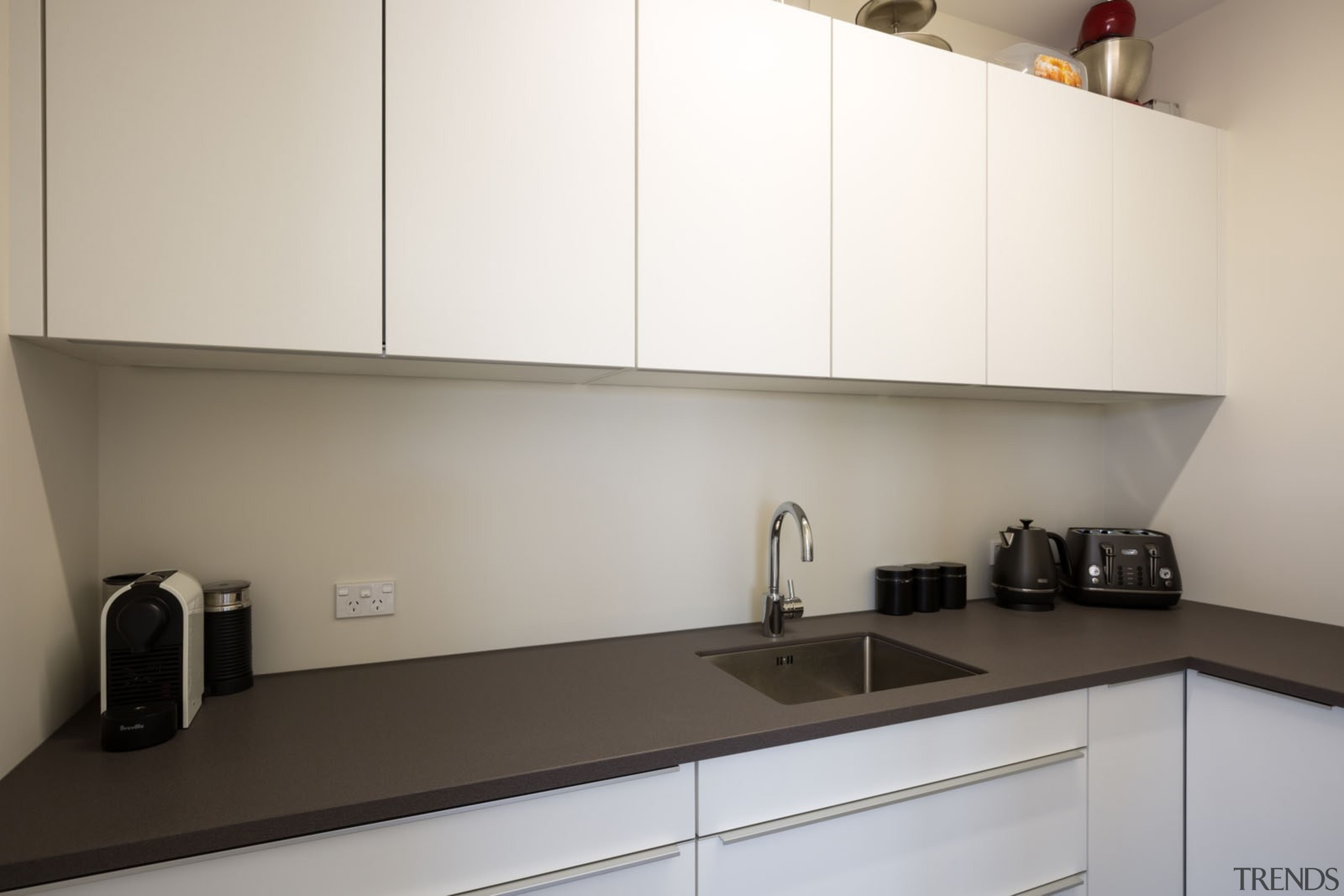 IMGL9869-21 - Dairy Flat Kitchen - Scullery - cabinetry, countertop, interior design, kitchen, product design, room, under cabinet lighting, white, gray