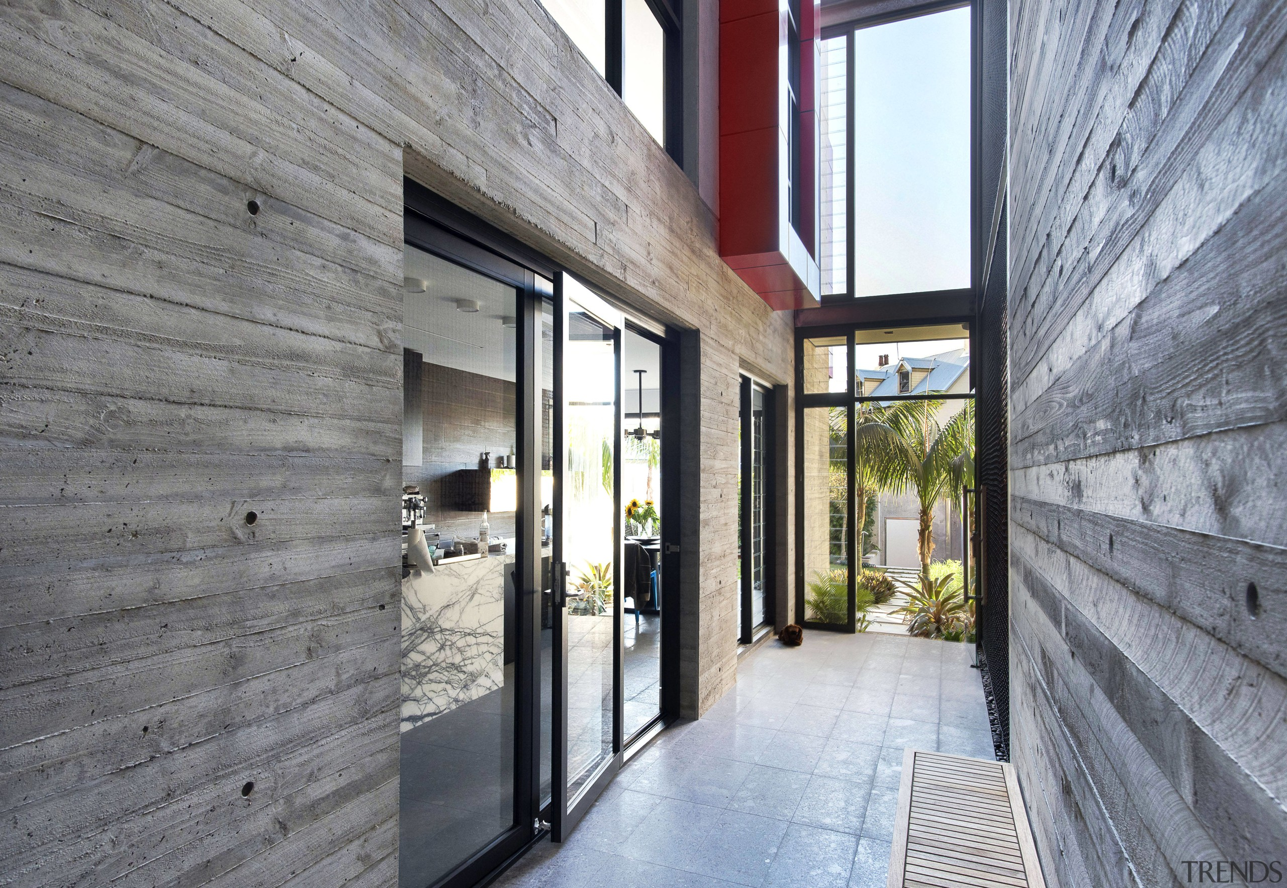 On this renovation and extension project, board-formed concrete architecture, home, house, interior design, property, real estate, gray