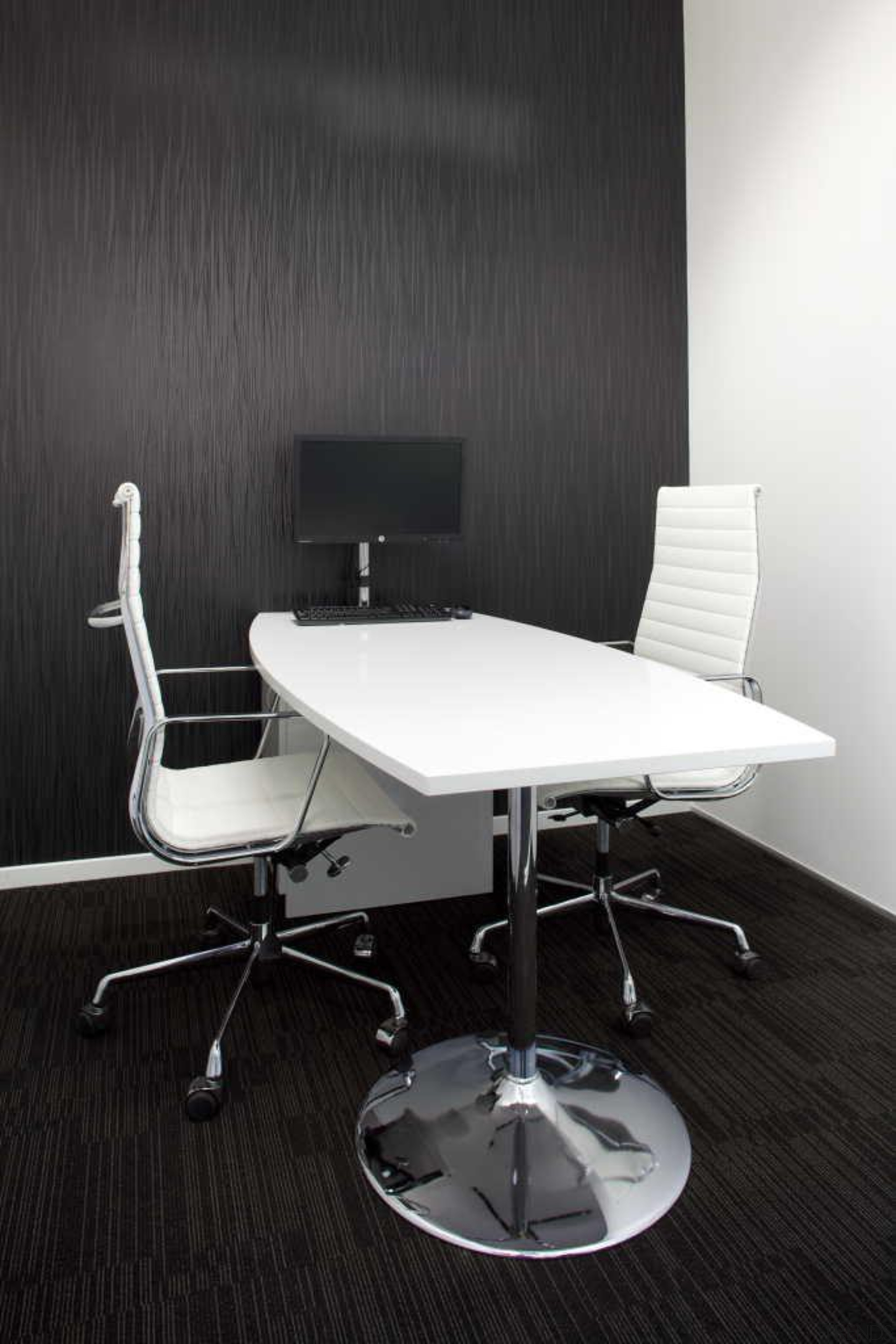 interview room at dkw personnel office designed by angle, chair, desk, furniture, interior design, office, office chair, product, product design, table, black