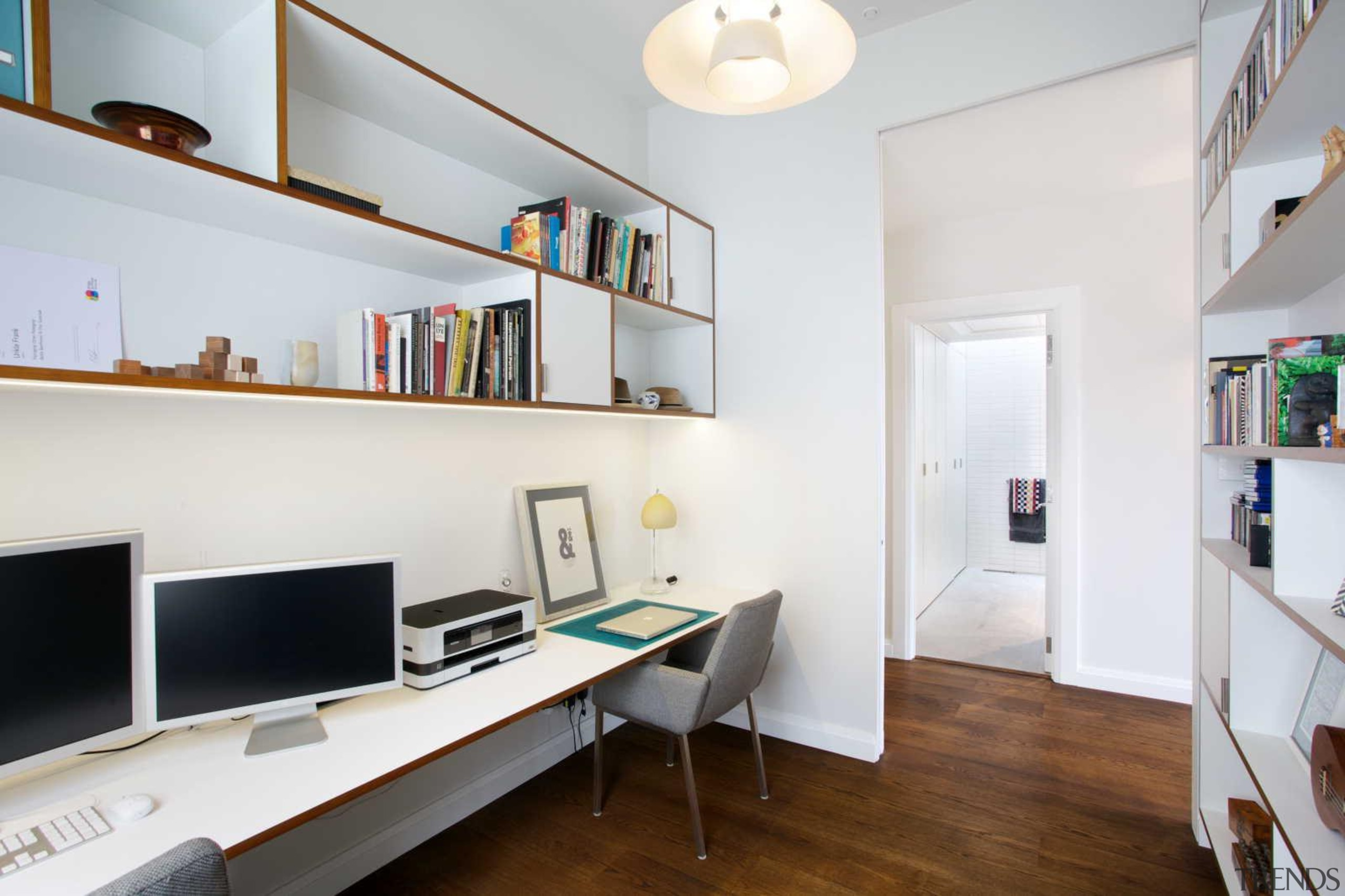 Shelving and a desk maximises useable space in apartment, furniture, home, interior design, office, property, real estate, room, shelf, shelving, white