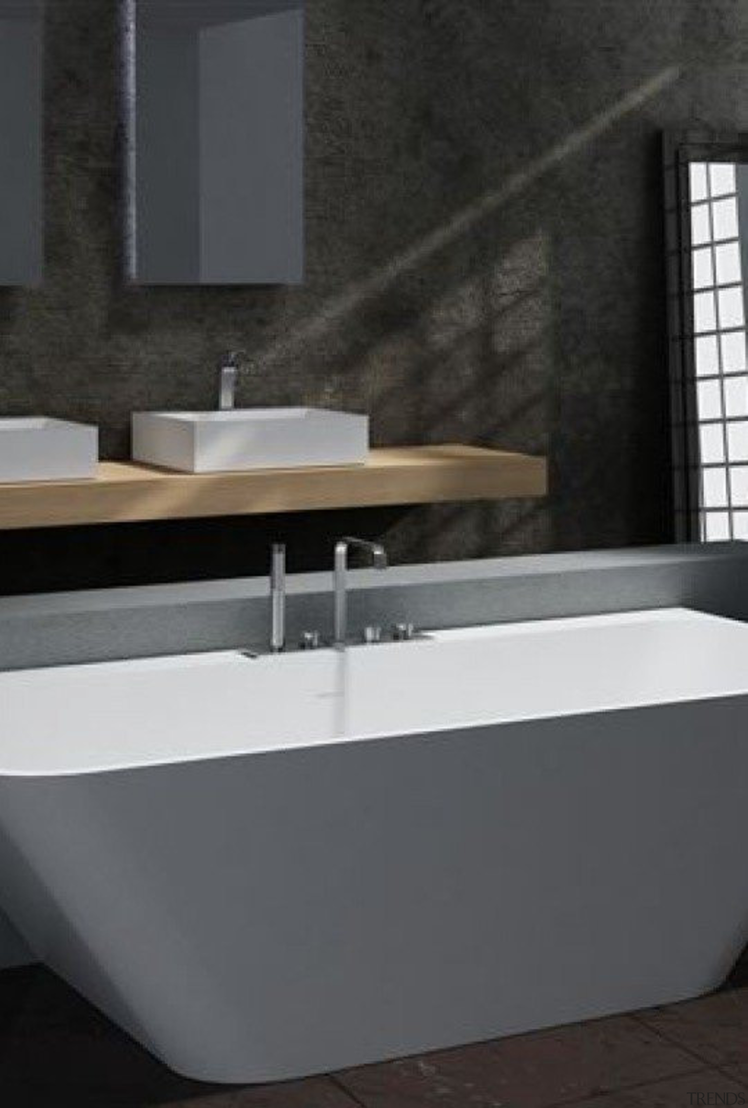 Rubino - angle   bathroom   bathroom sink angle, bathroom, bathroom sink, bathtub, floor, interior design, plumbing fixture, product design, sink, tap, black, gray