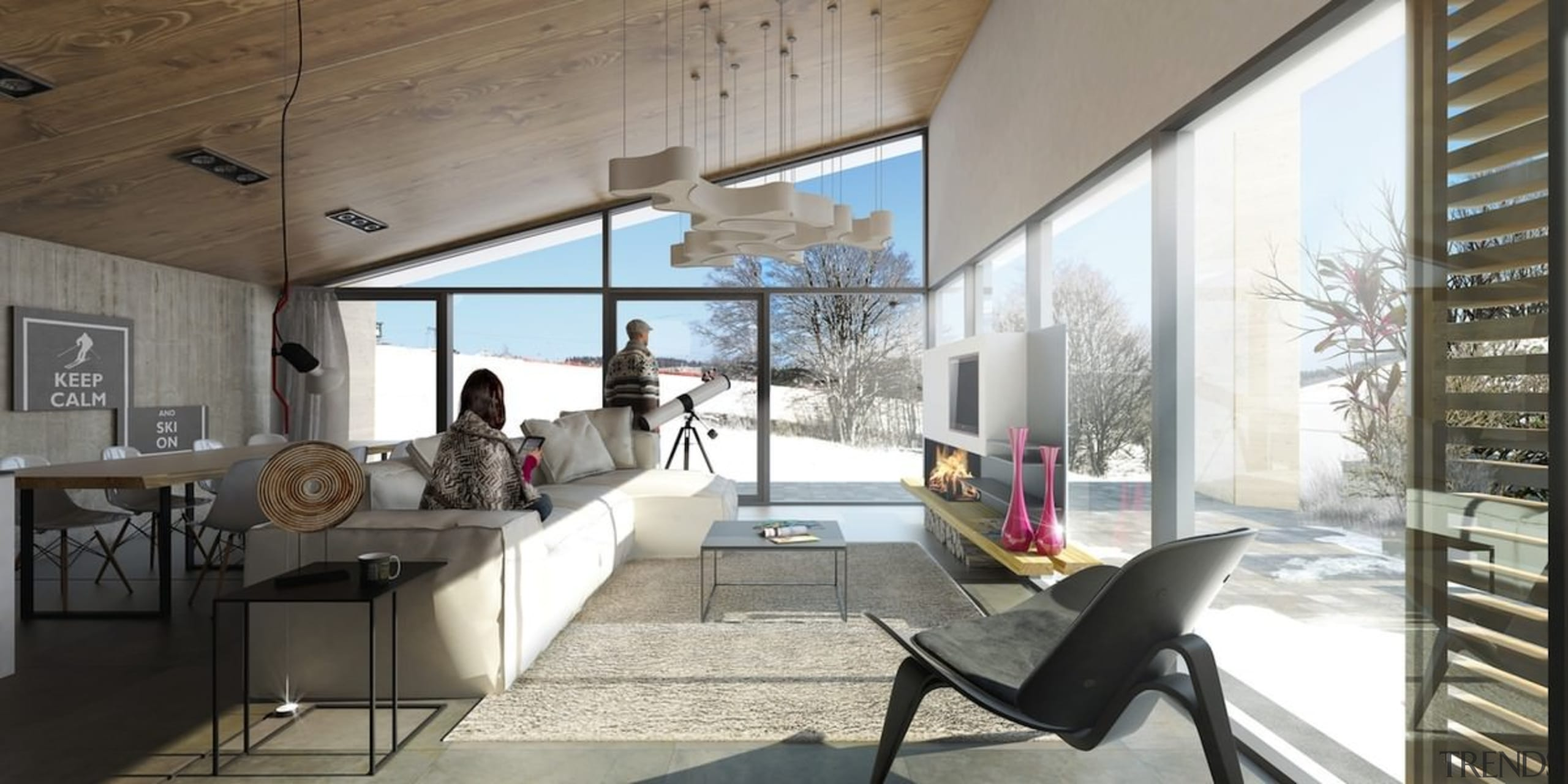 Every effort was made to maximise glass usage architecture, house, interior design, loft, real estate, window, white, gray