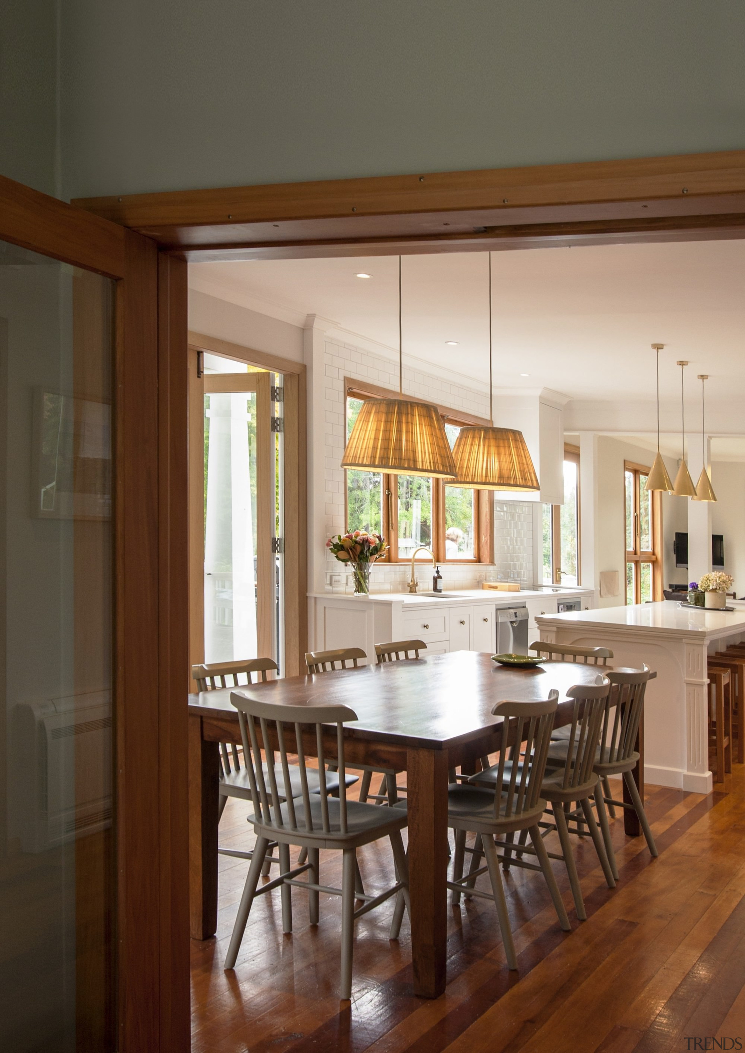 TIDA NZ 2017 – Designer kitchen entrant – cabinetry, chair, countertop, dining room, floor, flooring, furniture, hardwood, interior design, kitchen, room, table, window, wood, wood flooring, brown, gray