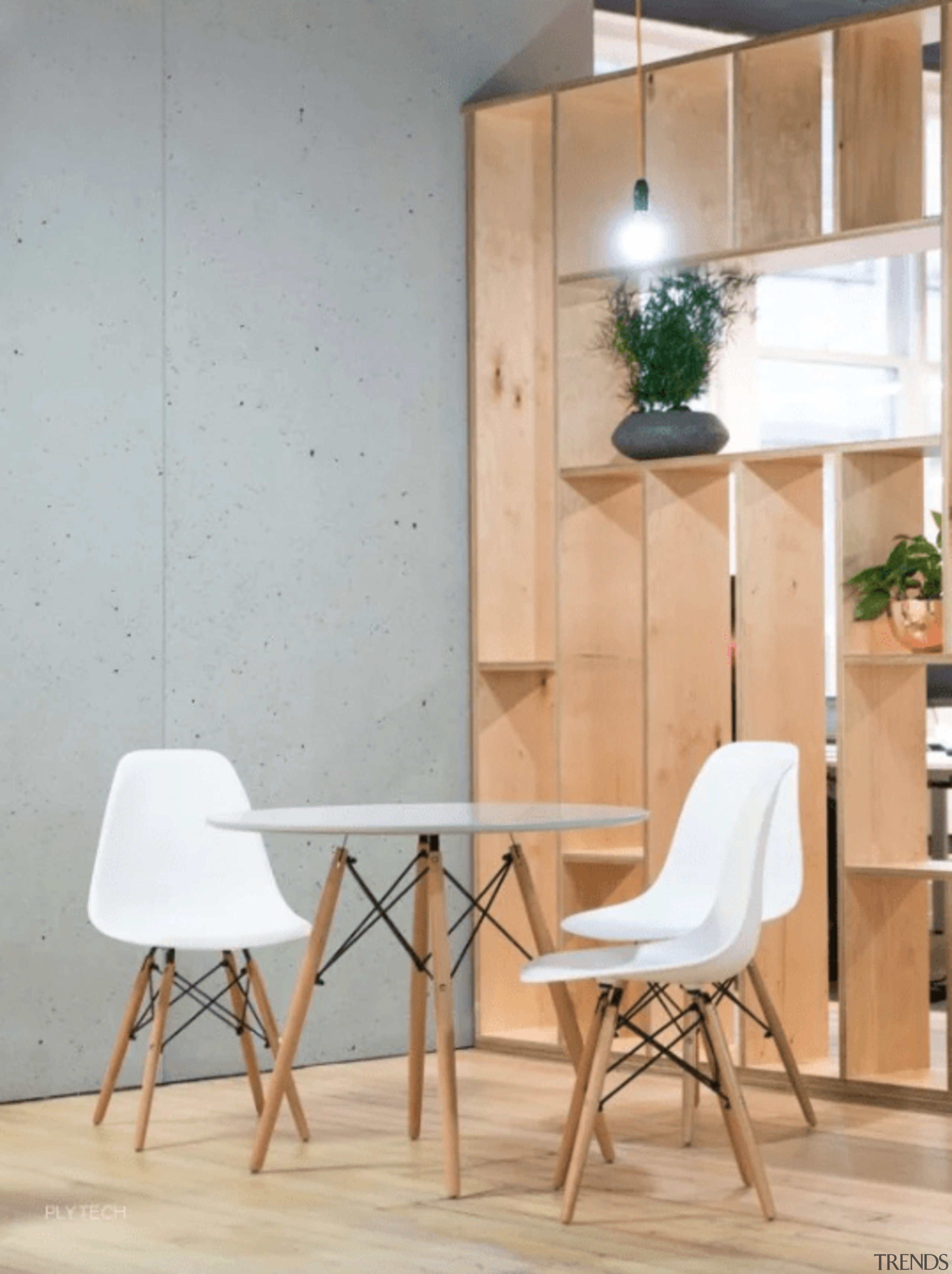 Even for concrete, these panels are extremely lightweight chair, floor, flooring, furniture, interior design, lamp, light fixture, table, wall, wood, gray, orange