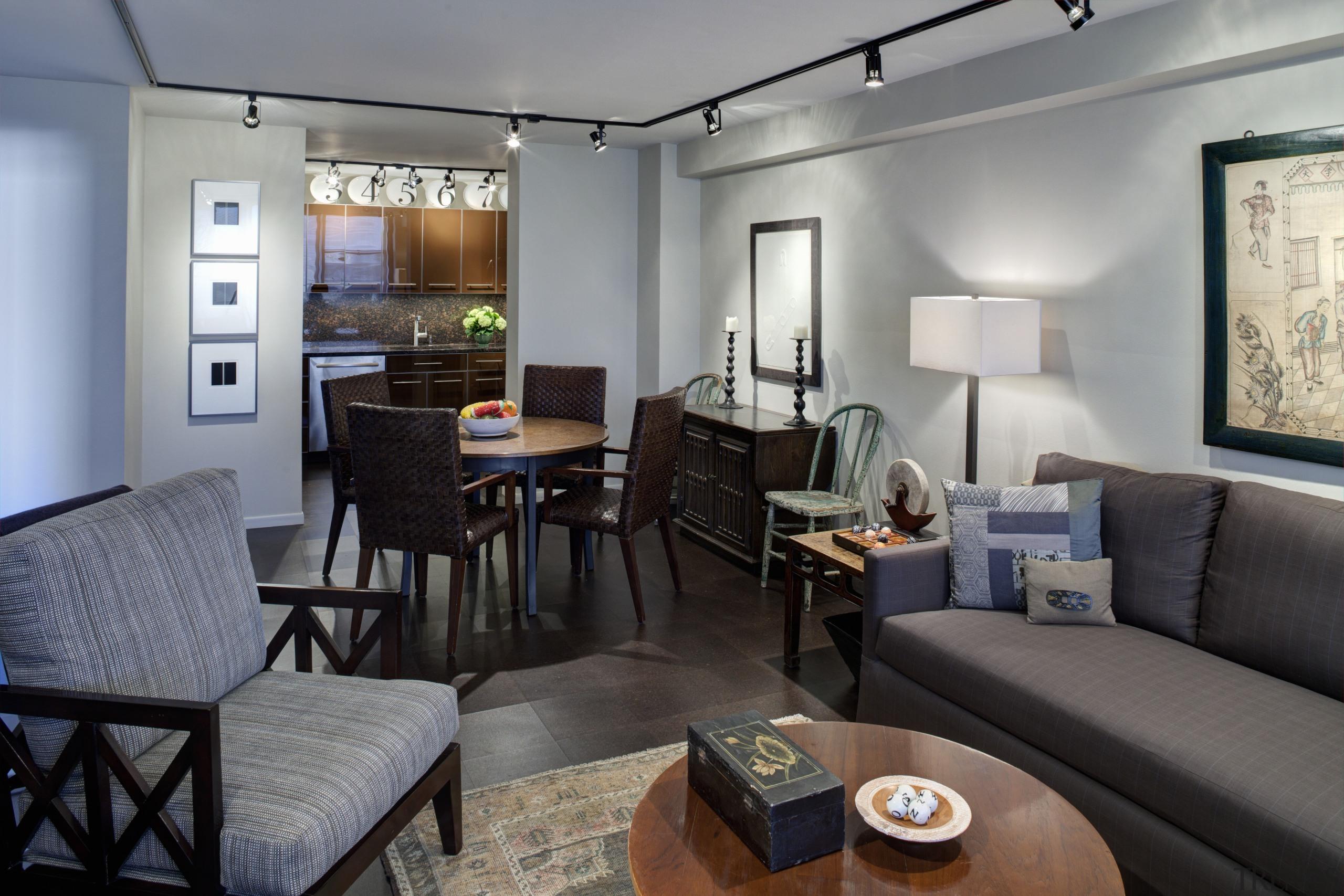 This remodeled kitchen by SemelSnow Interior Desig is interior design, living room, real estate, room, suite, gray, black