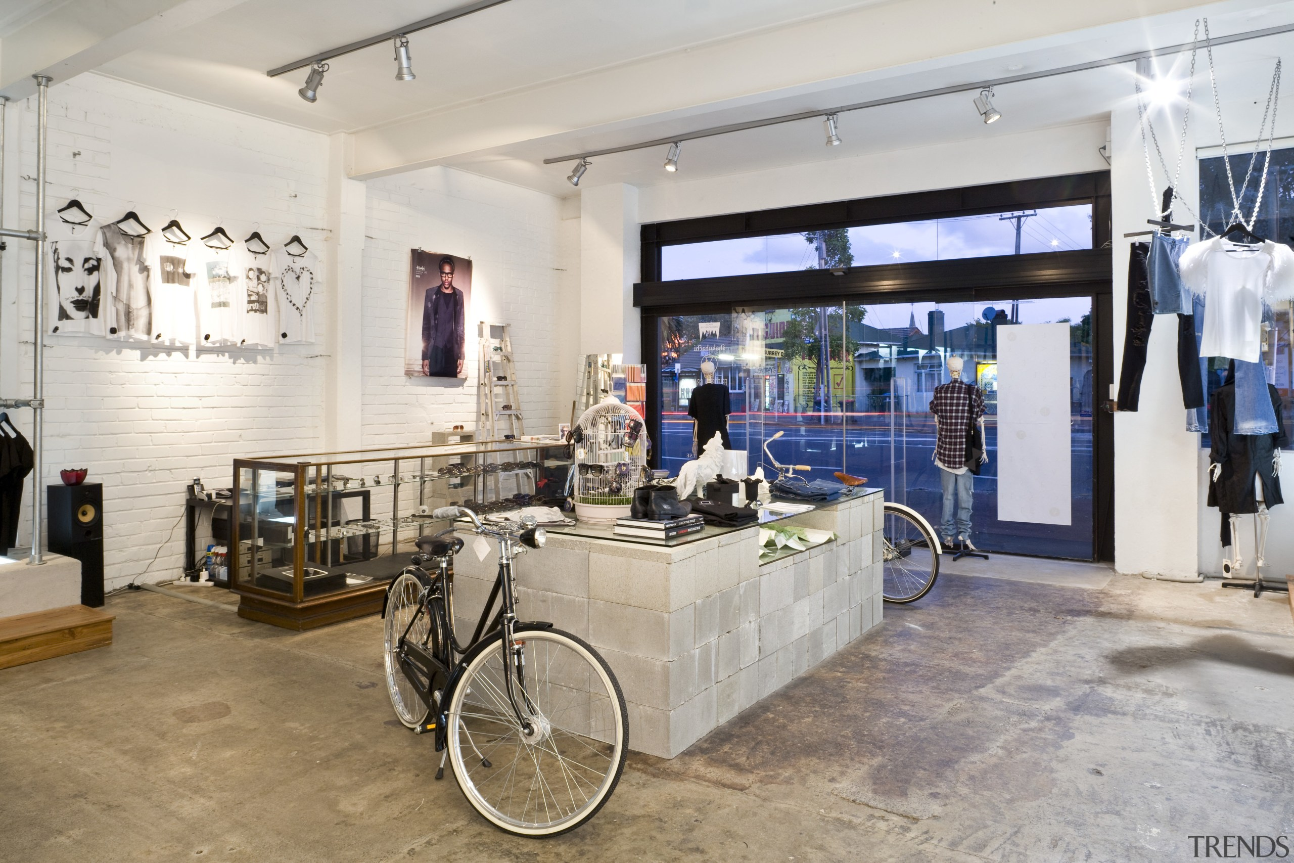 Interior view of the clothing displays at the interior design, gray