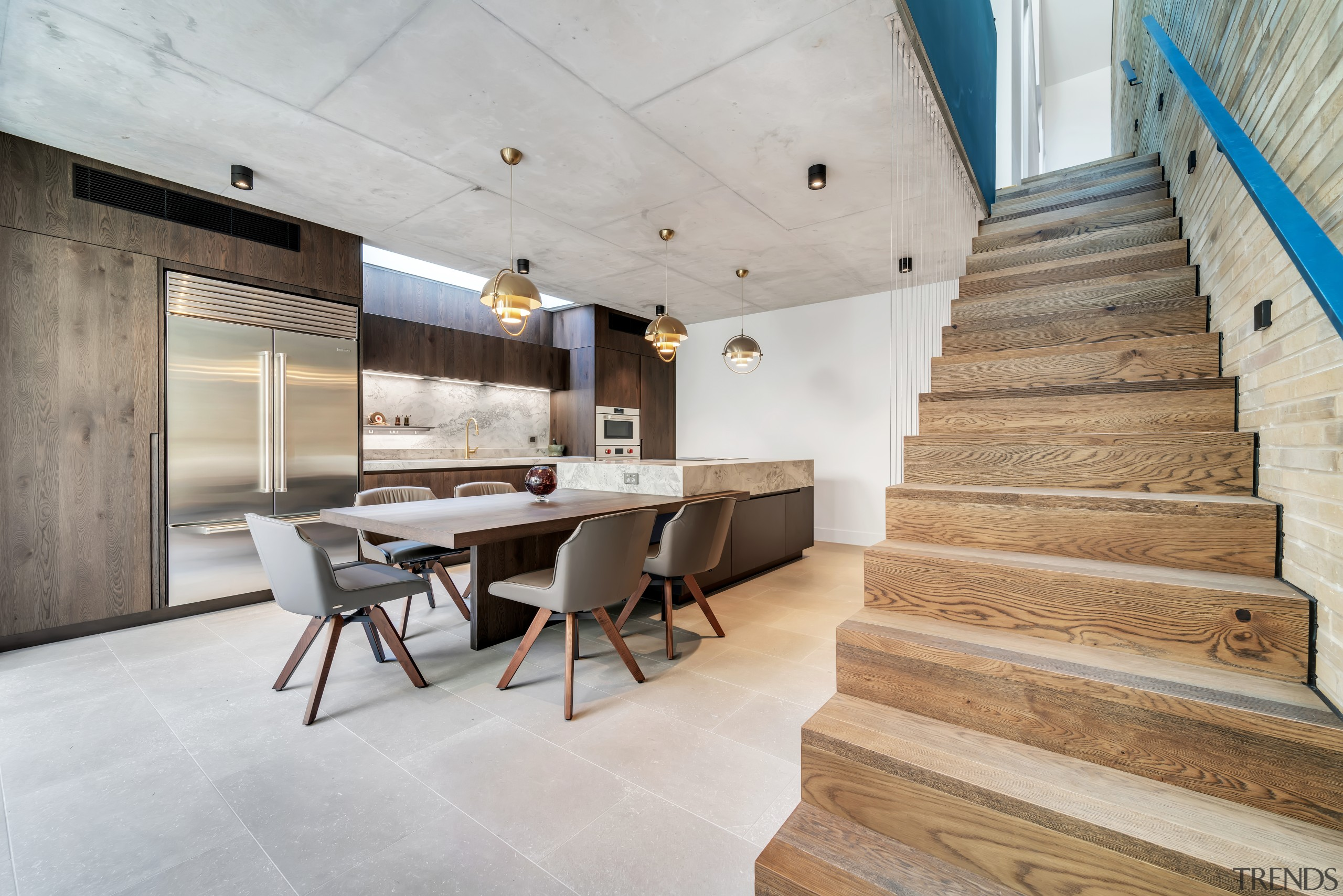 Wood stairs provide a natural complement to this