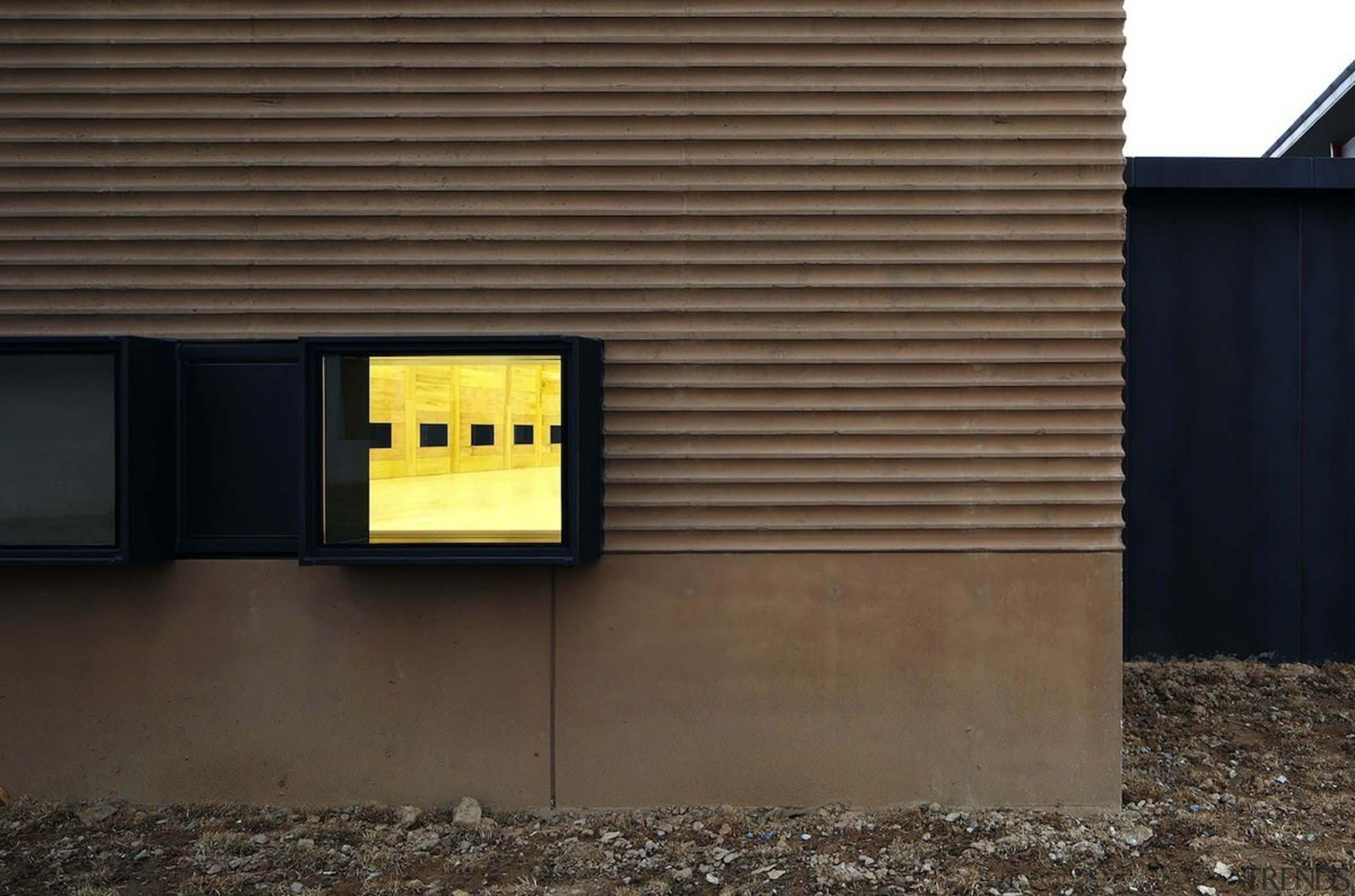 You can look into the court - You architecture, facade, house, product design, wall, black, brown