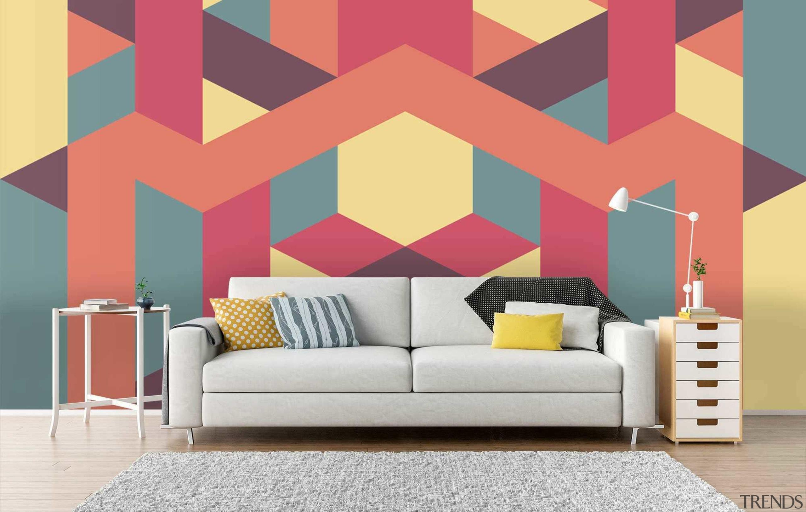 Geometric wallpaper - Geometric wallpaper - interior design interior design, living room, pattern, wall, wallpaper, red, white