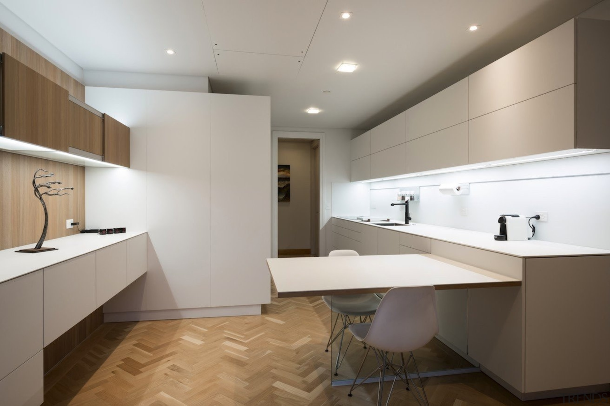 Highly Commended in the Category Imported Kitchen - architecture, bathroom, cabinetry, ceiling, countertop, floor, flooring, interior design, kitchen, real estate, room, sink, tile, wood flooring, gray