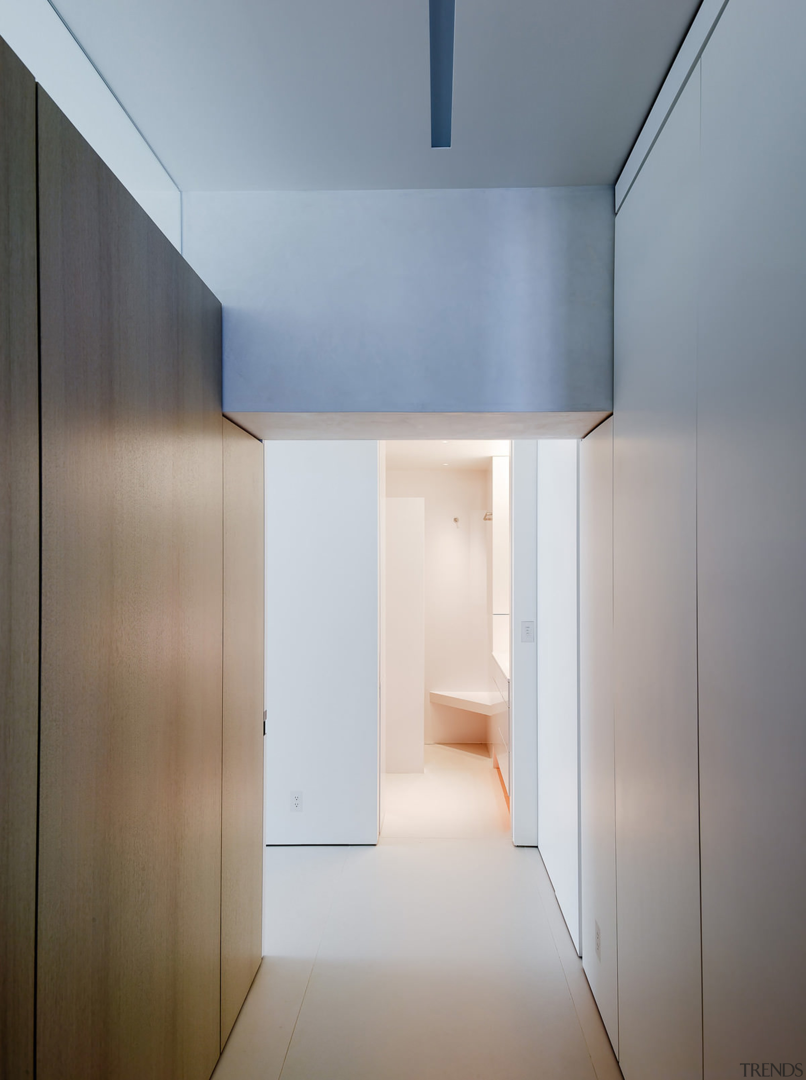 Looking down into the bathroom - Looking down architecture, ceiling, daylighting, home, house, interior design, product design, property, real estate, gray