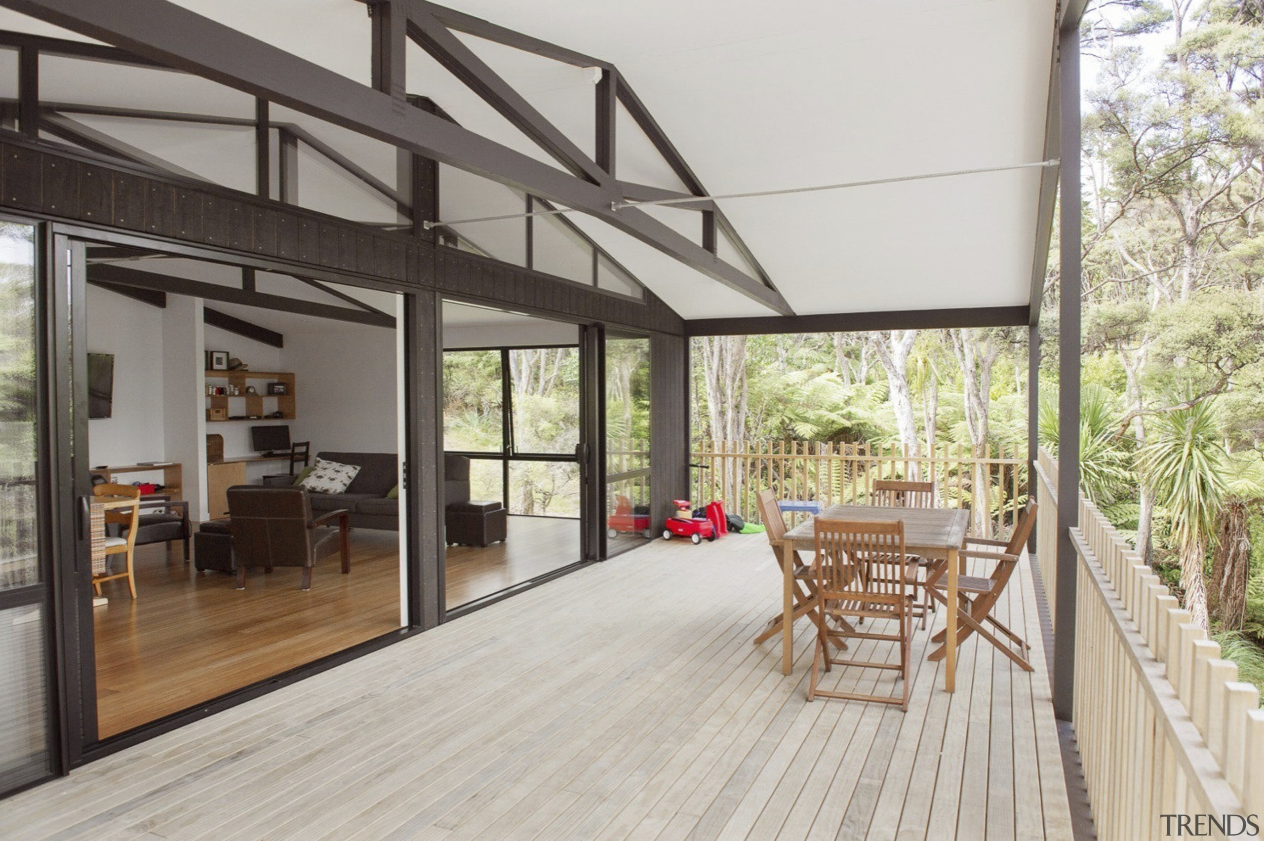 City meets country at Karaka Lakes - City architecture, balcony, deck, floor, house, interior design, property, real estate, roof, window, wood flooring, gray