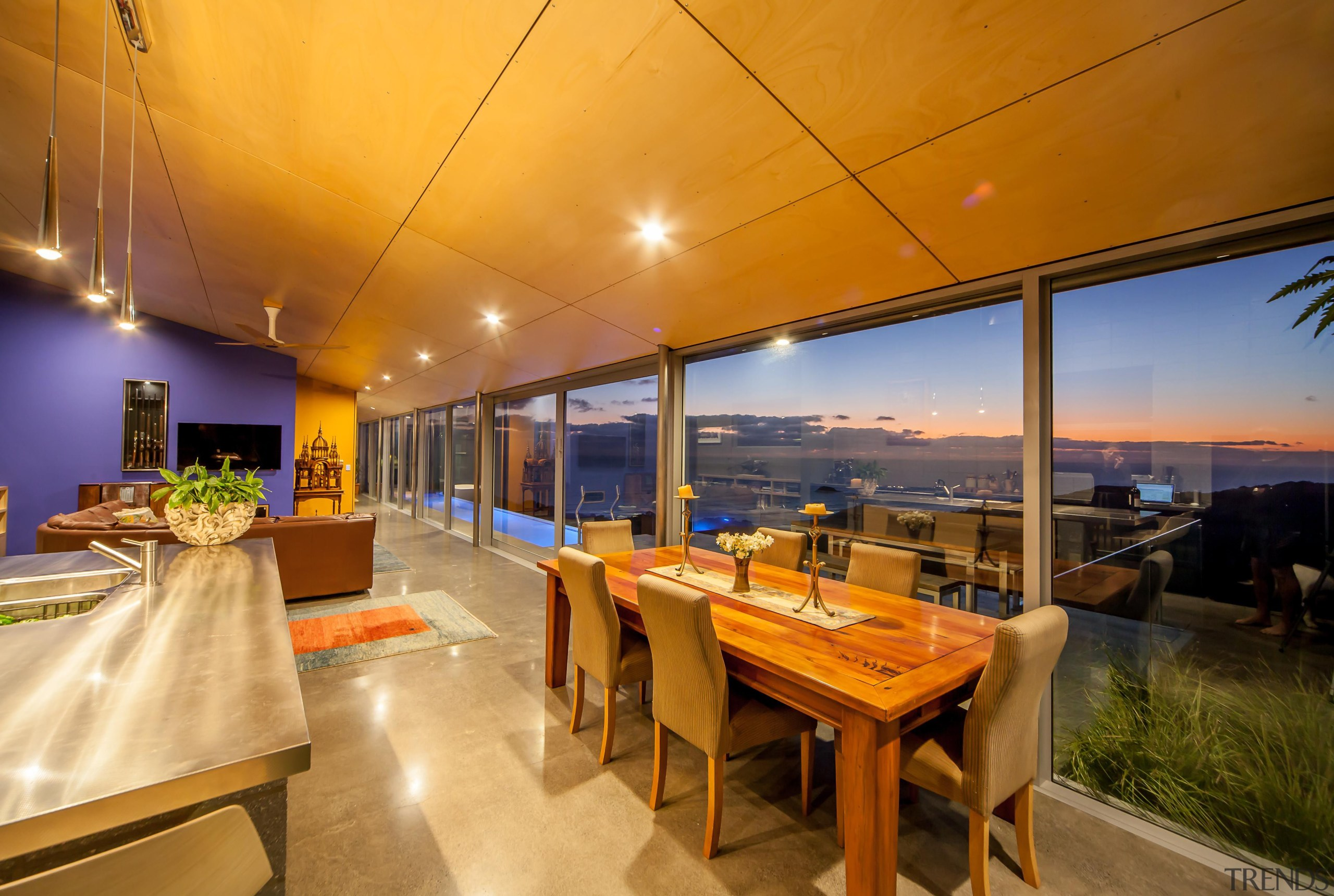 Capturing the spectacular views was a priority for apartment, interior design, real estate, orange, brown