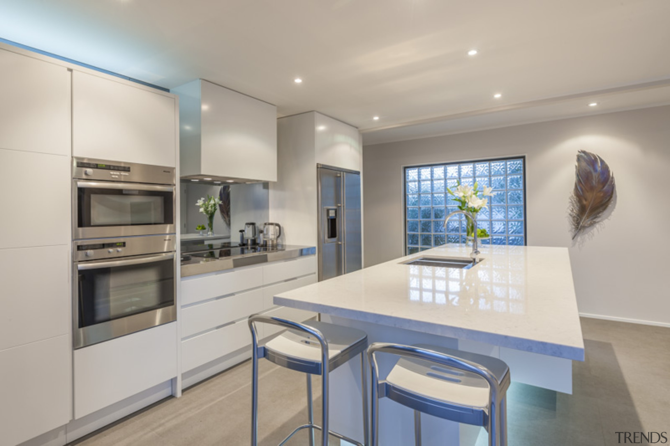 Cantilevered servery/benchtop for eating - countertop   interior countertop, interior design, kitchen, real estate, gray