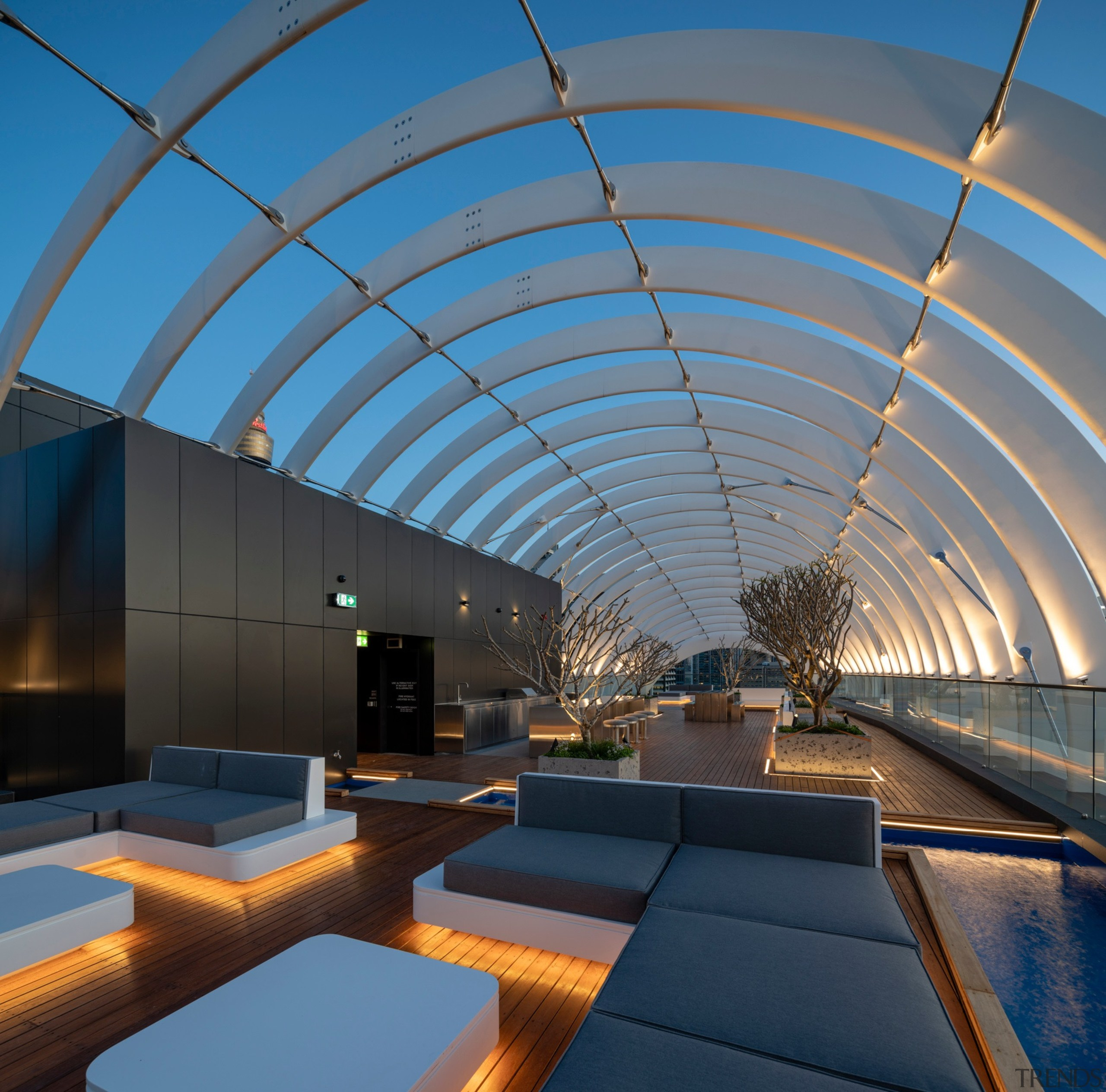 The rooftop Horizon Lounge has barbecue and bar architecture, building, daylighting, line, roof, sky, teal